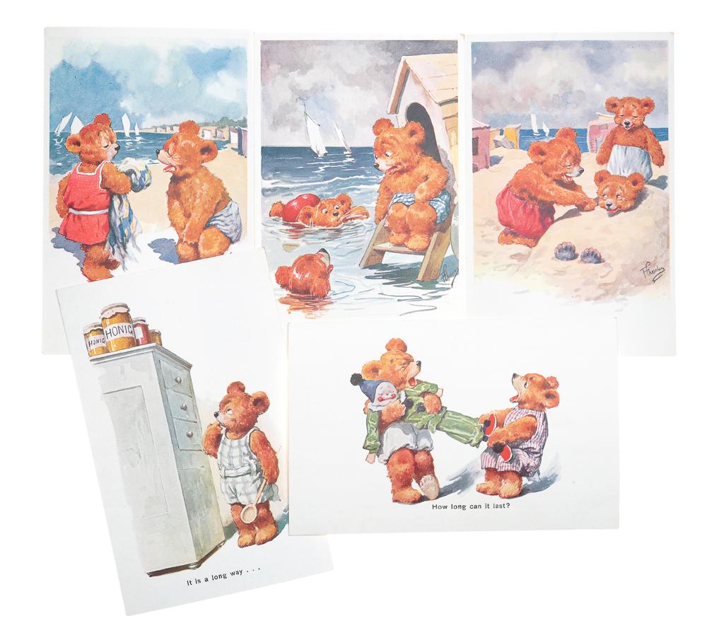 Тедди Беар. Комплект из 5 открытокНВА-2 2508 16-39Редкость! Комплект из 5 открыток Тедди Беар. Австрия, начало XX века. Издательство B. K. W. Размер открыток: 14 х 9 см. Сохранность хорошая.