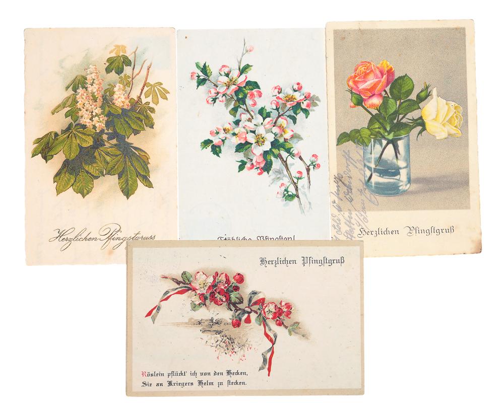 К Троице! Комплект их 4 открытокНВА-2 2508 16-39Комплект из 4 поздравительных открыток с цветами. Германия. Первая половина XX века. Размеры: 14 х 9 см. Сохранность хорошая. Все открытки с письмами.
