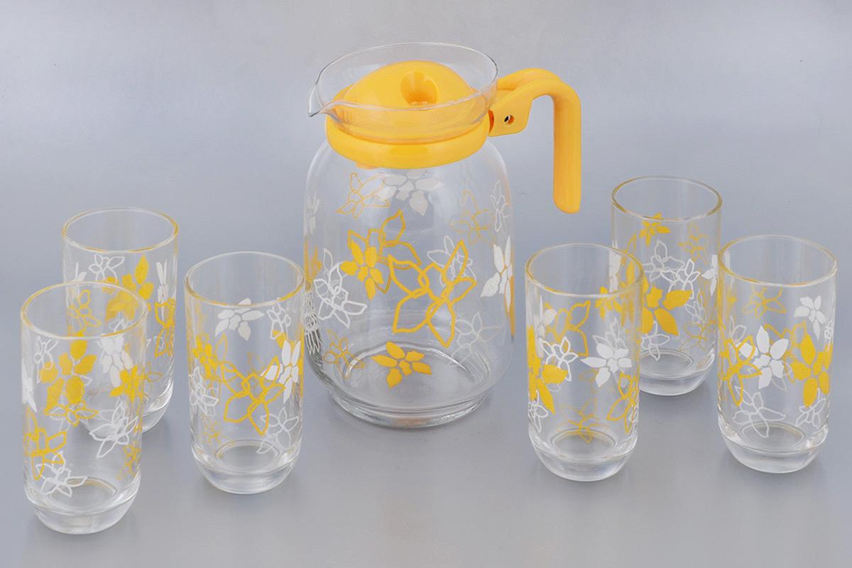 Набор стаканов для сока Miolla Арника, цвет: прозрачный, оранжевый, 7 предметов2009008UНабор для сока Miolla Арника выполнен из высококачественного стекла. Набор состоит из кувшина с пластиковой крышкой и 6 стаканов. Графин и стаканы выполнены в оригинальном дизайне и украсят любой праздничный стол. Благодаря такому набору пить напитки будет еще вкуснее. Набор для сока Miolla Арника станет также отличным подарком на любой праздник. Высота кувшина: 21 см. Объем кувшина: 1,7 л. Диаметр кувшина по верхнему краю: 10,5 см. Диаметр дна кувшина: 9 см. Высота стакана: 12 см. Объем стакана: 250 мл. Диаметр стакана по верхнему краю: 6,5 см. Диаметр дна стакана: 4,5 см.