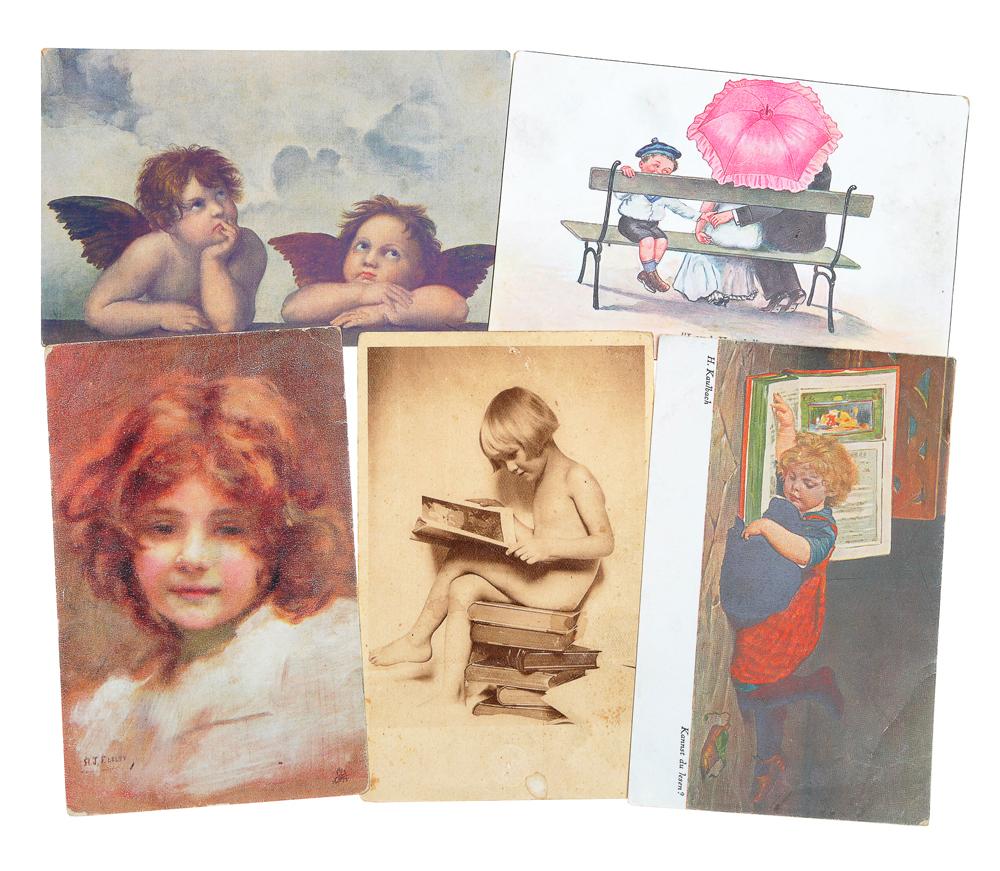 Дети. Комплект из 5 открытокНВА-2 2508 16-39Комплект из 5 открыток Дети. Западная Европа, начало XX века. Размер открыток: 14 х 9 см. Сохранность хорошая. Одна открытка с письмом.