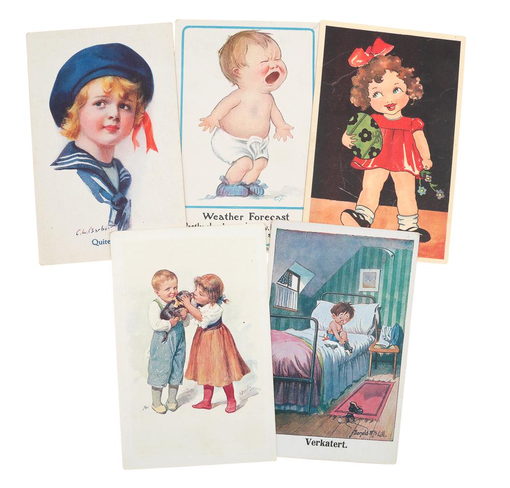 Дети. Комплект из 5 открытокD-020Комплект из 5 открыток с изображением детей. Западная Европа. Начало XX века. Размеры: 14 х 9 см. Сохранность хорошая. Две открытки с письмами.
