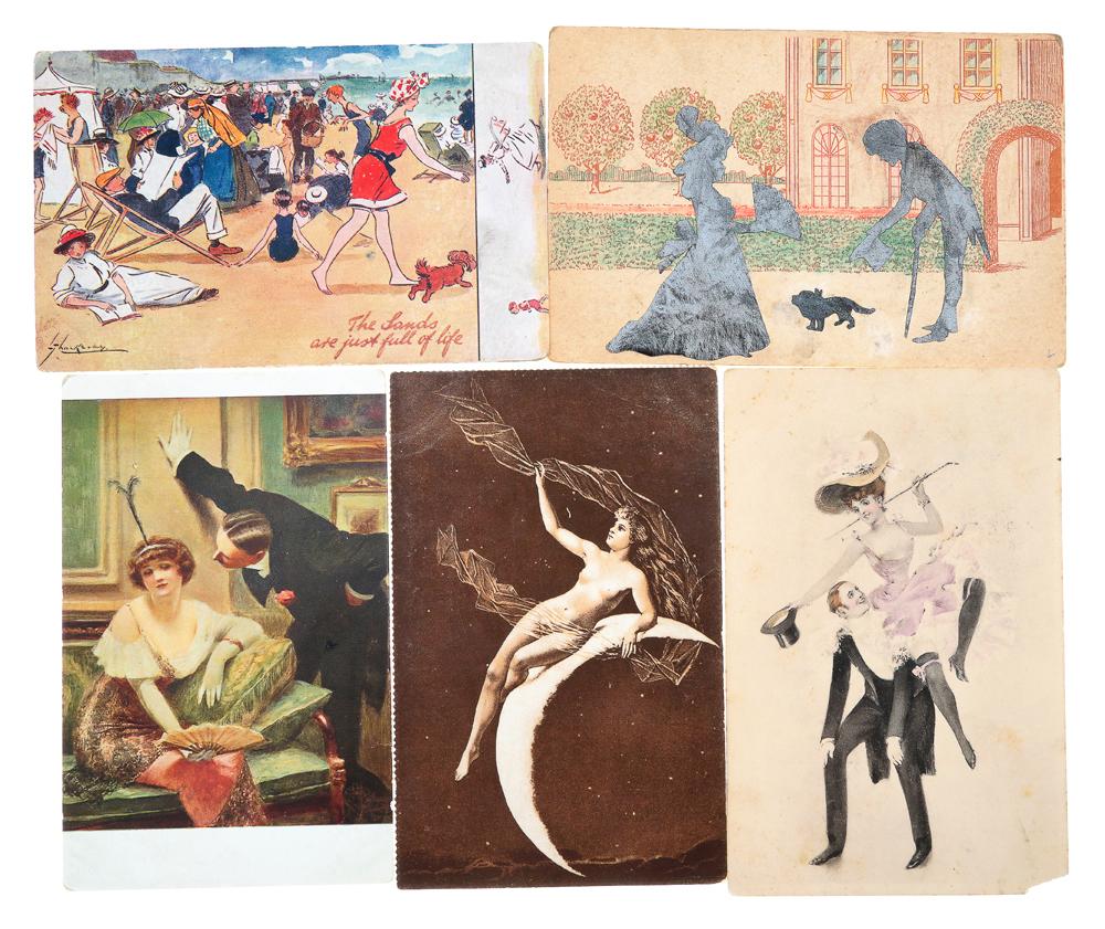 Гламур. Комплект из 5 открытокНВА-2 2508 16-39Комплект из 5 открыток Гламур. Западная Европа, Российская империя, начало XX века. Размер открыток: 14 х 9 см. Сохранность хорошая. Две открытки с письмами.