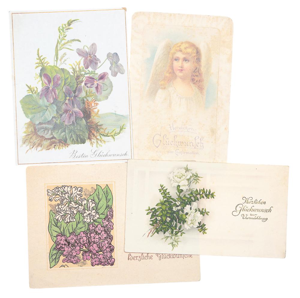 Сердечные пожелания! Комплект из 4 открытокНВА-2 2508 16-39Комплект из 3 поздравительных открыток. Германия. Первая половина XX века. Размеры: 13.5 х 10 см и 15 х 9 см. Сохранность хорошая. Две открытки с письмами.