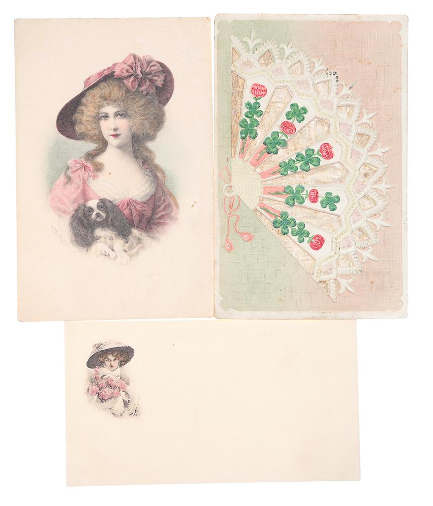 Поздравляю! Комплект из 3 открытокНВА-2 2508 16-39Комплект из 3 поздравительных открыток. Австрия, Россия. Начало XX века. Размеры: 14 х 9 см и 13.5 х 7.5 см. Сохранность хорошая. Одна открытка с письмом.