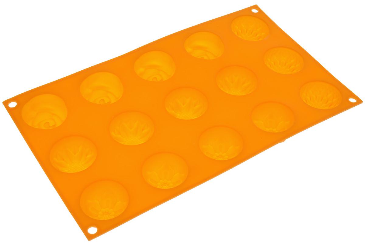 Форма для выпечки Marmiton Цветочки, цвет: оранжевый, 29,5 х 17,5 х 2,5 см, 15 ячеек16004_оранжевыйФорма для выпечки Marmiton Цветочки выполнена из силикона. На одном листе расположены 15 ячеек, выполненных в виде цветов. Благодаря тому, что форма изготовлена из силикона, готовый лед, выпечку или мармелад вынимать легко и просто. С такой формой вы всегда сможете порадовать своих близких оригинальной выпечкой. Материал устойчив к фруктовым кислотам, может быть использован в духовках, микроволновых печах и морозильных камерах (выдерживает температуру от 240°C до - 40°C). Можно мыть и сушить в посудомоечной машине. Общий размер формы: 29,5 см х 17,5 см х 2,5 см. Размер ячейки: 4 см х 4 см х 2,5 см.