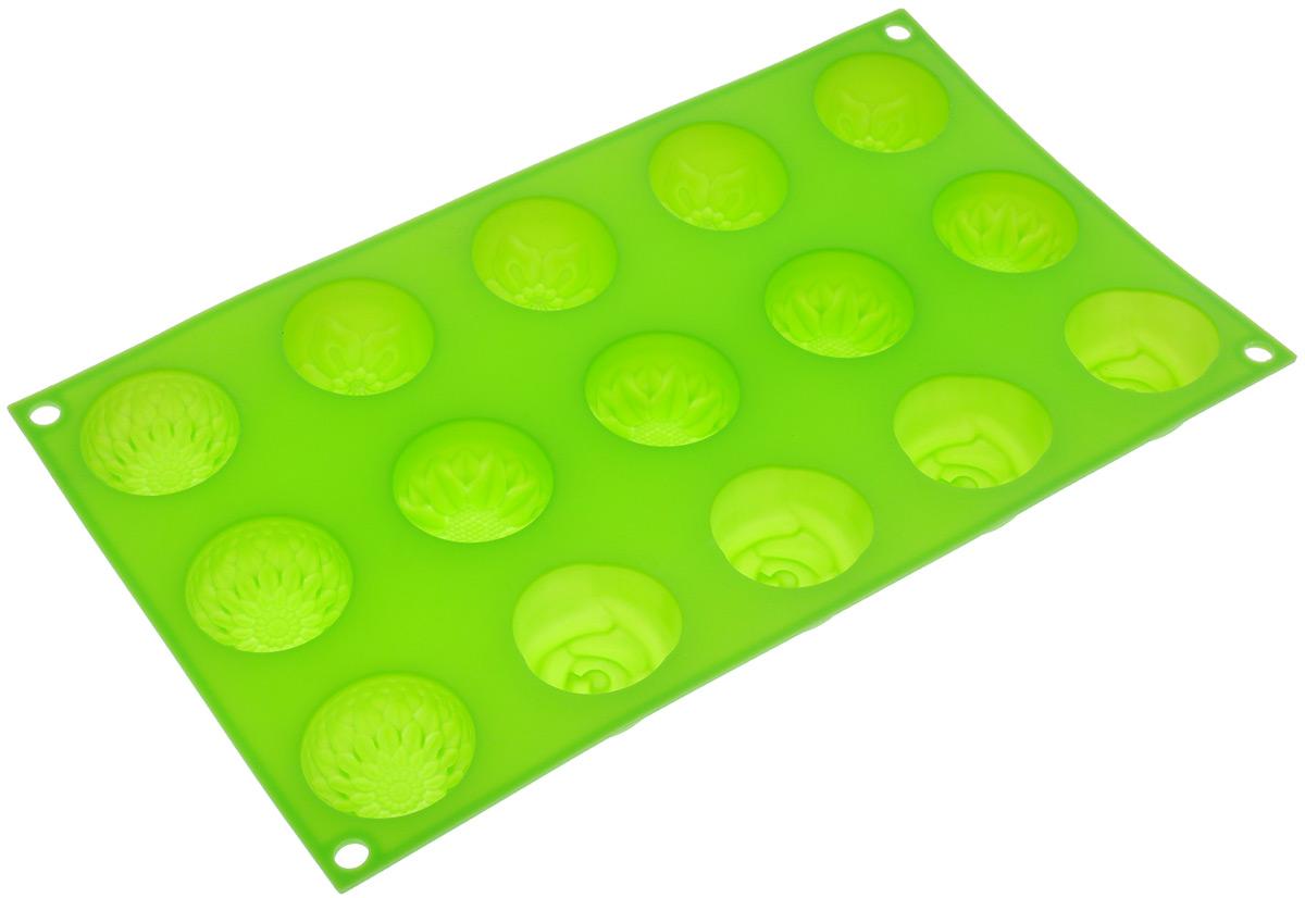 Форма для выпечки Marmiton Цветочки, цвет: салатовый, 29,5 см х 17,5 см х 2,5 см, 15 ячеек16004_салатовыйФорма для выпечки Marmiton Цветочки выполнена из силикона. На одном листе расположены 15 ячеек, выполненных в виде цветов. Благодаря тому, что форма изготовлена из силикона, готовый лед, выпечку или мармелад вынимать легко и просто. С такой формой вы всегда сможете порадовать своих близких оригинальной выпечкой. Материал устойчив к фруктовым кислотам, может быть использован в духовках, микроволновых печах и морозильных камерах (выдерживает температуру от 240°C до - 40°C). Можно мыть и сушить в посудомоечной машине. Общий размер формы: 29,5 см х 17,5 см х 2,5 см. Размер ячейки: 4 см х 4 см х 2,5 см.