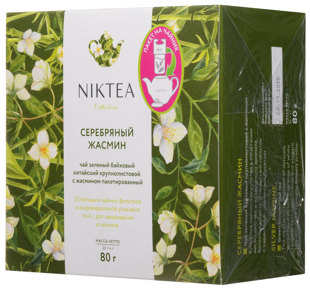 Niktea Silver Jasmine чай зеленый для чайника, 20 пакетов по 4 гTALTHA-GP0004Niktea Silver Jasmine - классика чайного искусства в сочетании весеннего чая и воздушного аромата белого жасмина. Элегантный напиток с характерным цветочным букетом. Коллекция NikTea разработана командой экспертов, имеющих богатый опыт в чайной индустрии. Во время ее создания выбирались самые надежные поставщики из Европы и стран происхождения чая, а в линейку включили не только топовые аутентичные позиции, но и новые интересные рецептуры в традициях современной чайной миксологии. NikTea - это действительно качественный чай. Для истинных ценителей мы предлагаем безупречное качество: отборное сырье, фасовку на высокотехнологичном производственном комплексе в России, постоянный педантичный контроль готового продукта, а также сертификацию сырья по международным стандартам. NikTea - это разнообразие. В линейках листового и пакетированного чая представлены все основные группы вкусов - от классического черного и зеленого чая до...