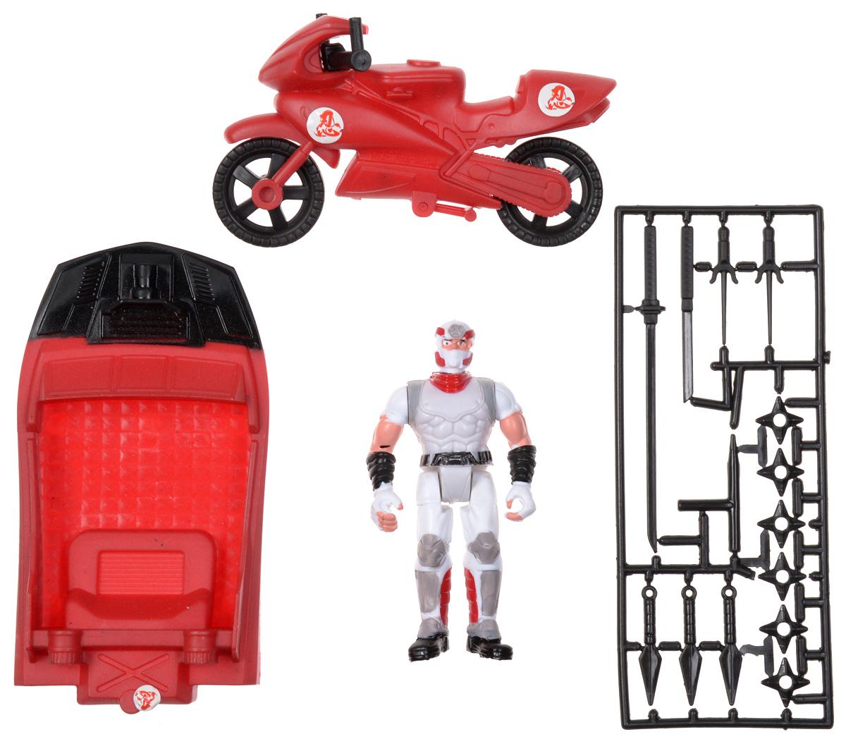 Manley Игровой набор Ninja Battle цвет красный белый63587_красный/белый нинзяИгровой набор Ninja Battle заинтересует каждого мальчишку! В набор входит фигурка ниндзя, лодка и гоночный мотоцикл. Элементы набора выполнены из прочного пластика. Руки, ноги и голова у фигурки ниндзя подвижны, колеса мотоцикла вращаются. В наборе имеется разнообразное оружие для ниндзя, которое можно использовать в схватках с врагами. Ваш ребенок с удовольствием разнообразит свои игры фигурками Ninja Battle.