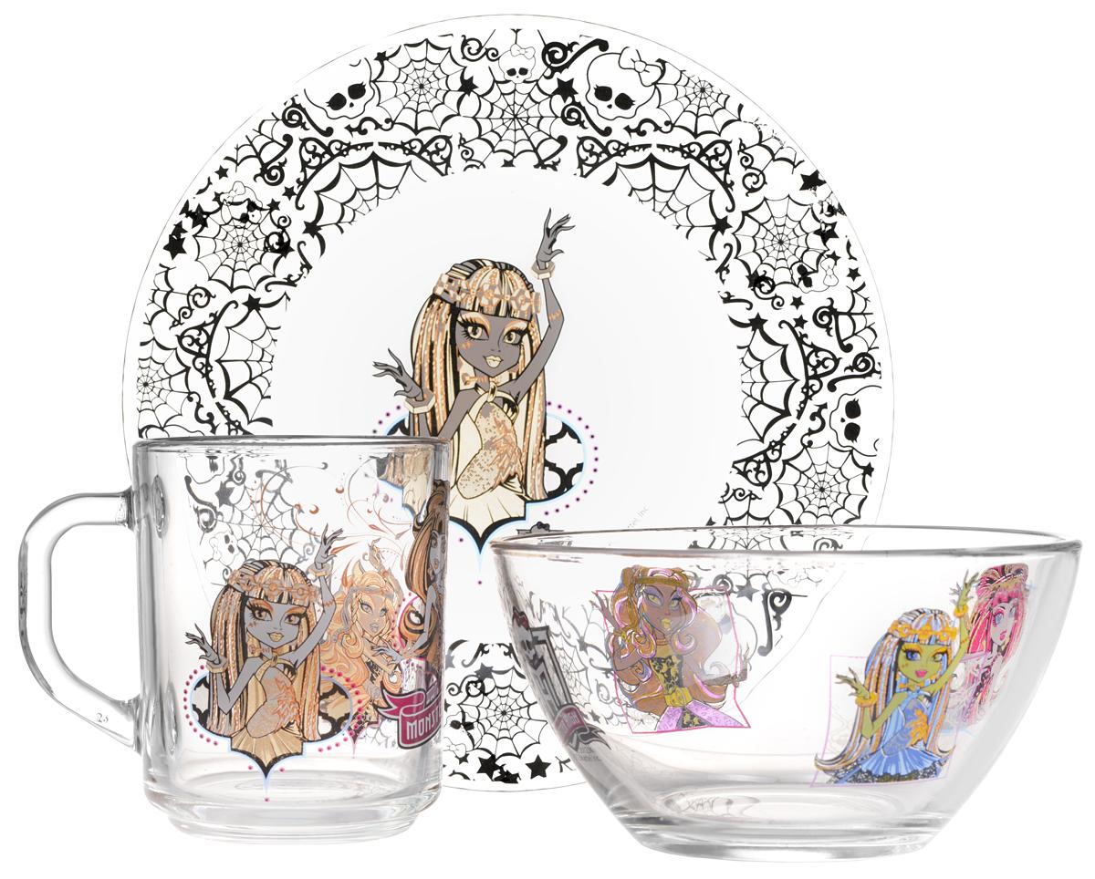 Monster High Набор детской посуды, 3 предмета543976_вариант 3Красочный набор посуды Monster High, выполненный из прозрачного стекла, идеально подойдет для повседневного использования. В комплект входят: тарелка диаметром 19,5 см, салатник диаметром 12,5 см и кружка объемом 250 мл. Все предметы выполнены в оригинальном дизайне с изображением героев из мультфильма Monster High. Тарелка украшена изображением Френки Штейн. Набор упакован в коробку из плотного картона. Набор посуды непременно доставит массу удовольствия своему обладателю. Рекомендуется для детей от 3 лет.