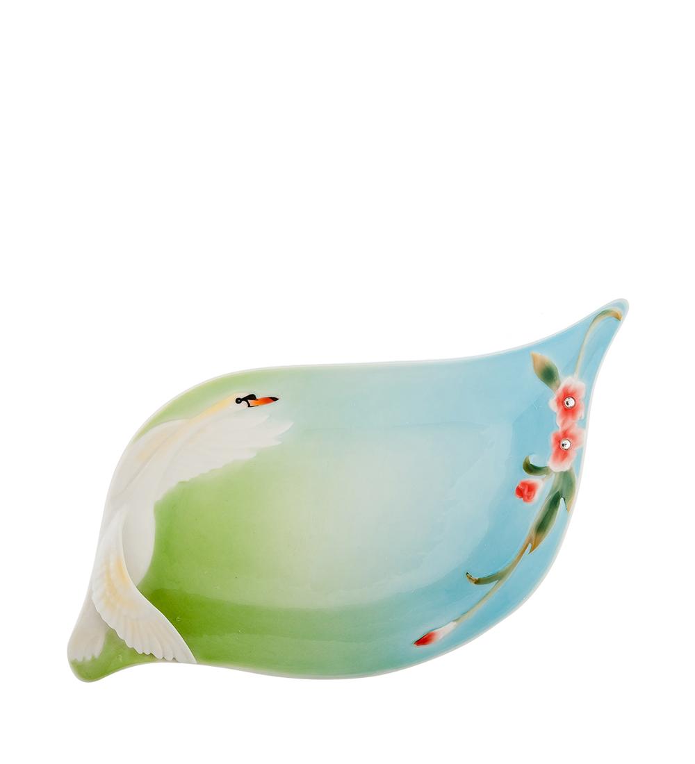 Блюдо Pavone Лебеди, цвет: белый, зеленый, голубой, 28 х 16 см