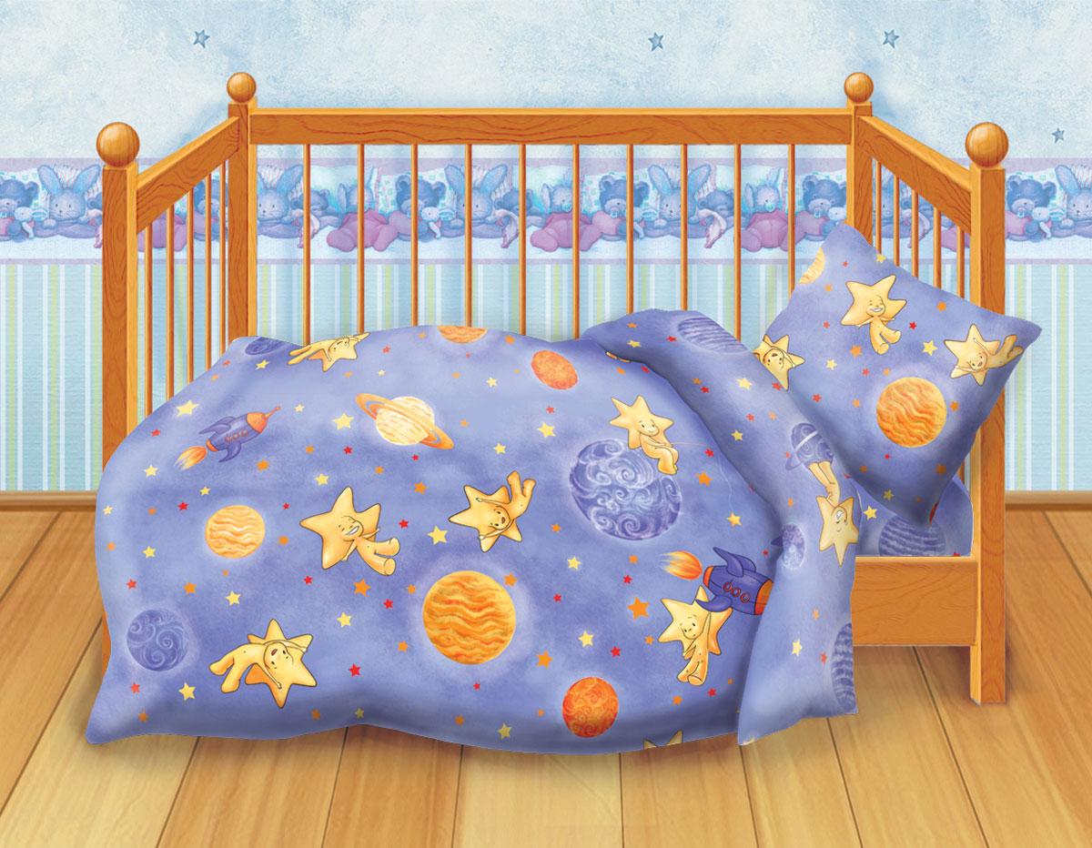 Кошки-мышки Комплект детского постельного белья Космостар277998Комплект детского постельного белья Кошки-мышки Космостар, состоящий из наволочки, простыни и пододеяльника, выполнен из натурального 100% хлопка. Пододеяльник оформлен рисунком в виде ночного неба с планетами и звездочками. Хлопок - это натуральный материал, который не раздражает даже самую нежную и чувствительную кожу малыша, не вызывает аллергии и хорошо вентилируется. Такой комплект идеально подойдет для кроватки вашего малыша. На нем ребенок будет спать здоровым и крепким сном.