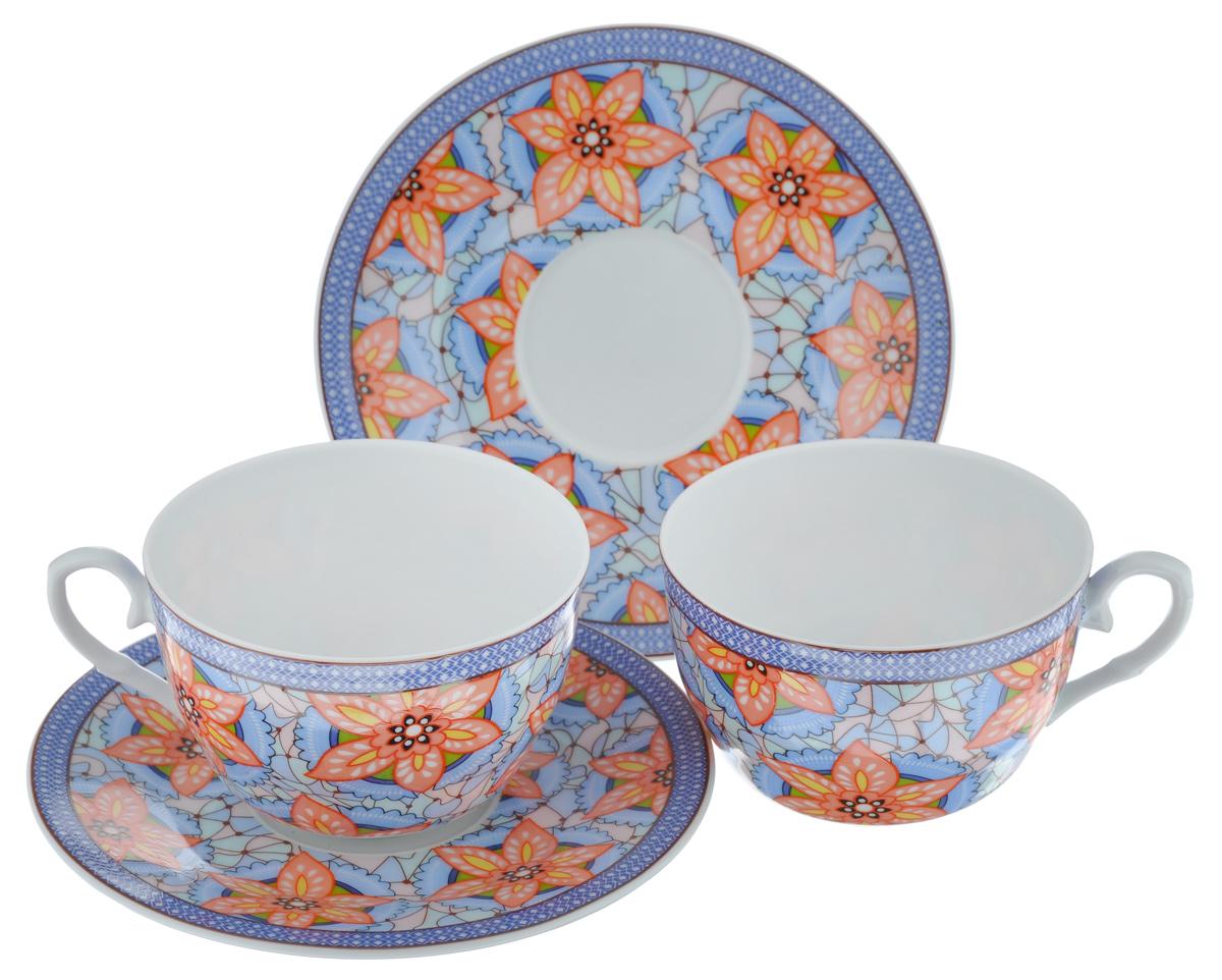 Набор чайный LarangE Витраж, 4 предмета586-324Чайный набор LarangE Витраж состоит из 2 чашек и 2 блюдец. Изделия, выполненные из высококачественного фарфора, имеют элегантный дизайн и классическую круглую форму. Такой набор прекрасно подойдет как для повседневного использования, так и для праздников. Чайный набор LarangE Витраж - это не только яркий и полезный подарок для родных и близких, это также великолепное дизайнерское решение для вашей кухни или столовой. Объем чашки: 225 мл. Диаметр чашки (по верхнему краю): 9,5 см. Высота чашки: 6,5 см. Диаметр блюдца (по верхнему краю): 15 см. Высота блюдца: 1,5 см.