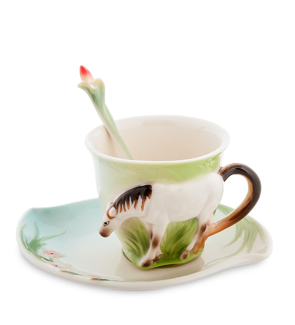 Чайная пара Pavone Лошадь, цвет: белый, коричневый, зеленый, 3 предмета