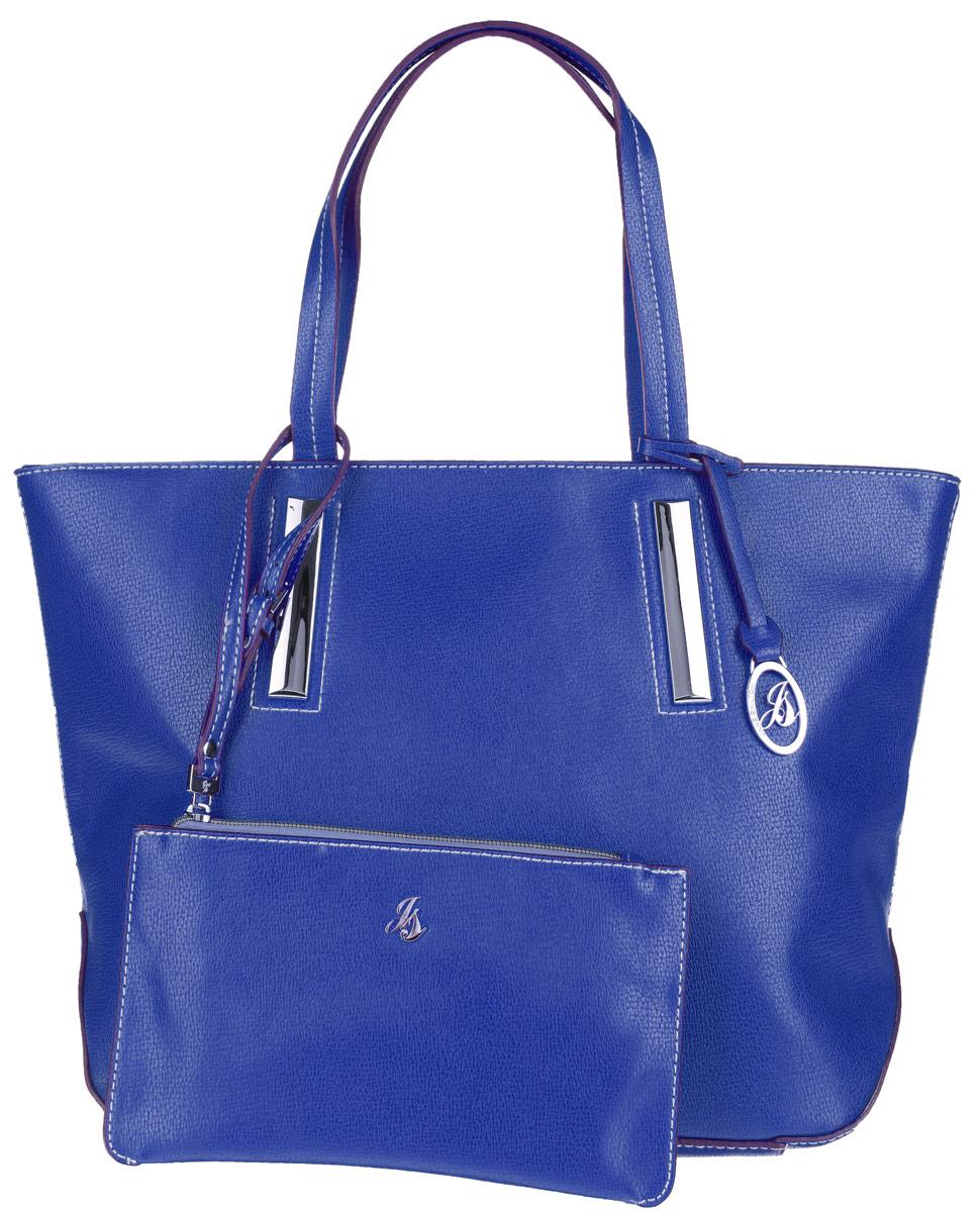 Сумка женская Jane Shilton, цвет: синий. 19001900navyСтильная сумка Jane Shilton выполнена из искусственной кожи с зернистой фактурой, оформлена контрастной строчкой, подвеской и металлической фурнитурой с символикой бренда. Сумка содержит одно отделение, которое закрывается на застежку-молнию. Внутри изделия расположены карман-средник на молнии, накладной карман для телефона и врезной карман на застежке-молнии. Снаружи, в тыльной стенке сумки, размещен врезной карман на молнии. Изделие оснащено двумя практичными ручками, которые позволят носить сумку, как в руках, так и на плече. Сумка дополнена кошельком на молнии, который оснащен ремнем на запястье регулируемой длины. Оригинальный аксессуар позволит вам завершить образ и быть неотразимой.