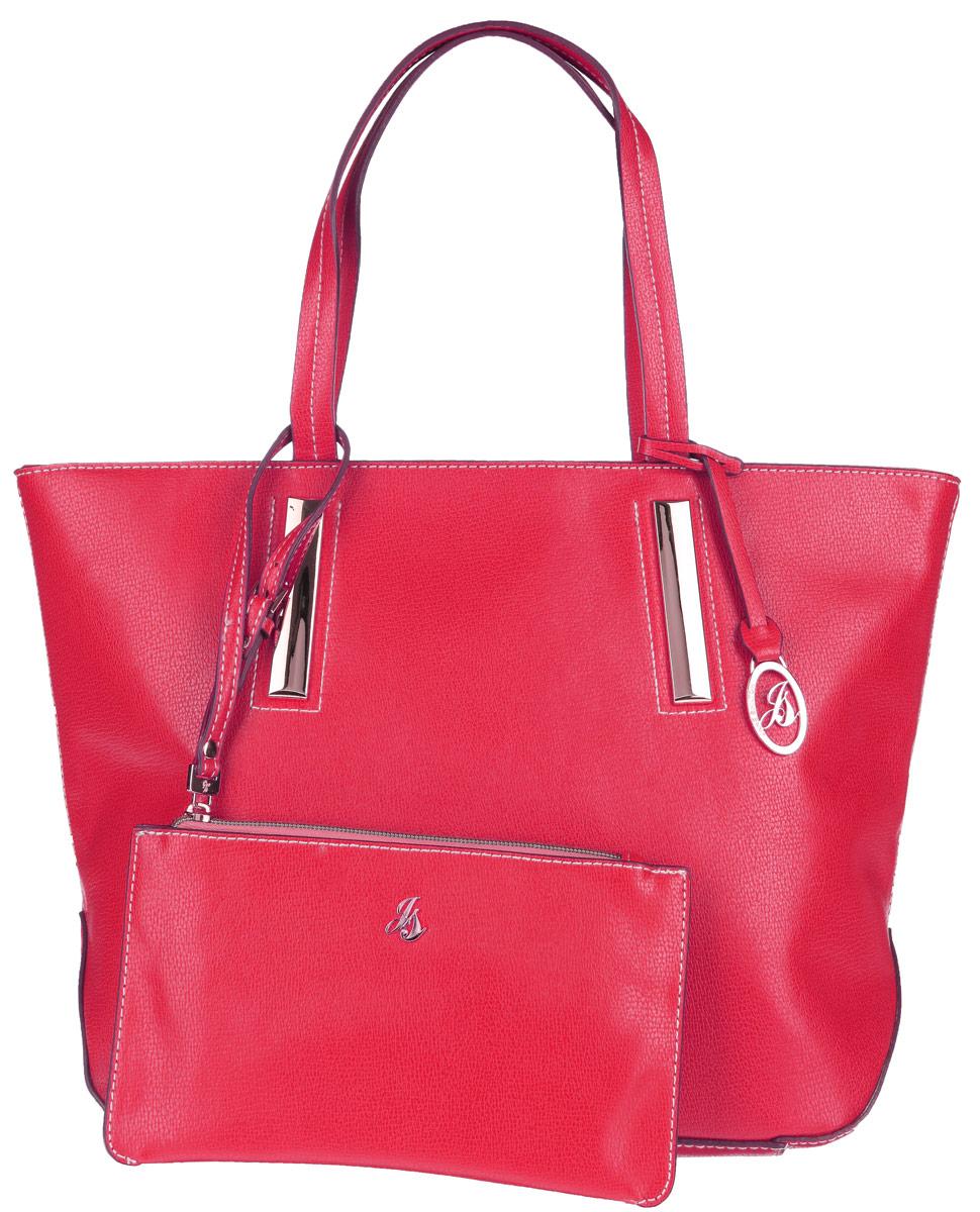 Сумка женская Jane Shilton, цвет: красный. 19001900redСтильная сумка Jane Shilton выполнена из искусственной кожи с зернистой фактурой, оформлена контрастной строчкой, подвеской и металлической фурнитурой с символикой бренда. Сумка содержит одно отделение, которое закрывается на застежку-молнию. Внутри изделия расположены карман-средник на молнии, накладной карман для телефона и врезной карман на застежке-молнии. Снаружи, в тыльной стенке сумки, размещен врезной карман на молнии. Изделие оснащено двумя практичными ручками, которые позволят носить сумку, как в руках, так и на плече. Сумка дополнена кошельком на молнии, который оснащен ремнем на запястье регулируемой длины. Оригинальный аксессуар позволит вам завершить образ и быть неотразимой.