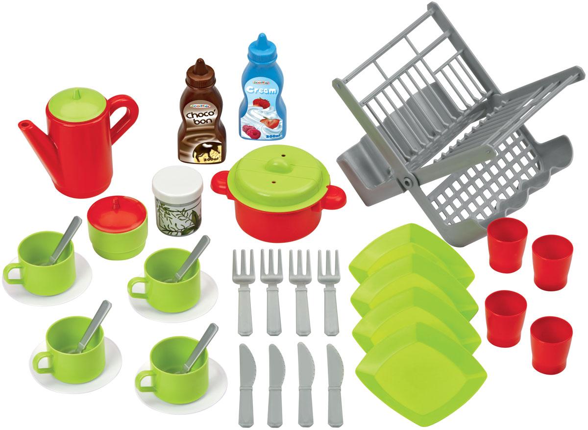 Ecoiffier Игровой набор Сушилка для посуды цвет салатовый красный2619_салатовый, красныйИгровой набор Ecoiffier Сушилка для посуды станет отличным подарком для вашей малышки. С помощью этого набора маленькая хозяйка сможет приготовить обед для своих любимых кукол, так же как это делает мама, или накрыть праздничный стол и позвать в гости друзей. В набор входят самые необходимые предметы, которые могут понадобиться юному кулинару: 4 чашки с блюдцами, столовые приборы на 4 персоны, 4 тарелки, 4 стакана, кастрюля с крышкой, сушка для посуды, кофейник, сахарница, мельница для специй и 2 бутылочки для крема. Наличие такого набора у ребенка убережет его от бытовых травм, которые он может получить на кухне, пытаясь ознакомиться с настоящей кухонной утварью. Во время игры ребенок освоит новые для него предметы, узнает их названия и научится правильно пользоваться столовыми приборами.