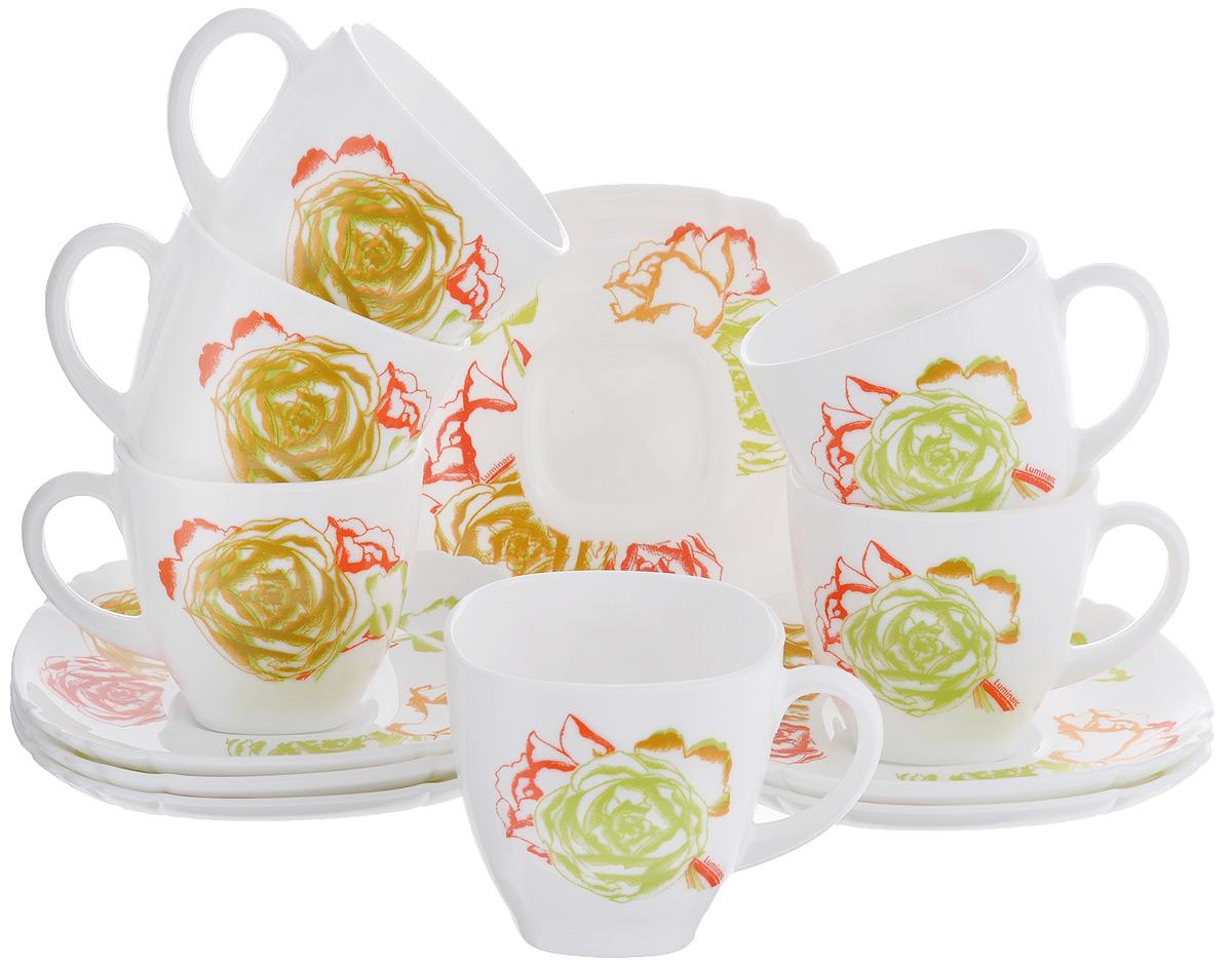 Набор чайный Luminarc Amaria, 12 предметовJ1893Чайный набор Luminarc Amaria состоит из 6 чашек и 6 блюдец. Изделия выполнены из высококачественного ударопрочного стекла, имеют элегантный дизайн с красивым цветочным орнаментом. Блюдца квадратной формы декорированы красивыми резными краями. Посуда отличается прочностью, гигиеничностью и долгим сроком службы, она устойчива к появлению царапин и резким перепадам температур. Такой набор прекрасно подойдет как для повседневного использования, так и для праздников. Чайный набор Luminarc Amaria - это не только яркий и полезный подарок для родных и близких, это также великолепное дизайнерское решение для вашей кухни или столовой. Изделия можно мыть в посудомоечной машине и использовать в СВЧ-печи. Объем чашки: 220 мл. Размер чашки (по верхнему краю): 7,5 см х 7,5 см. Высота чашки: 7,5 см. Размер блюдца: 15 см х 15 см х 2 см.