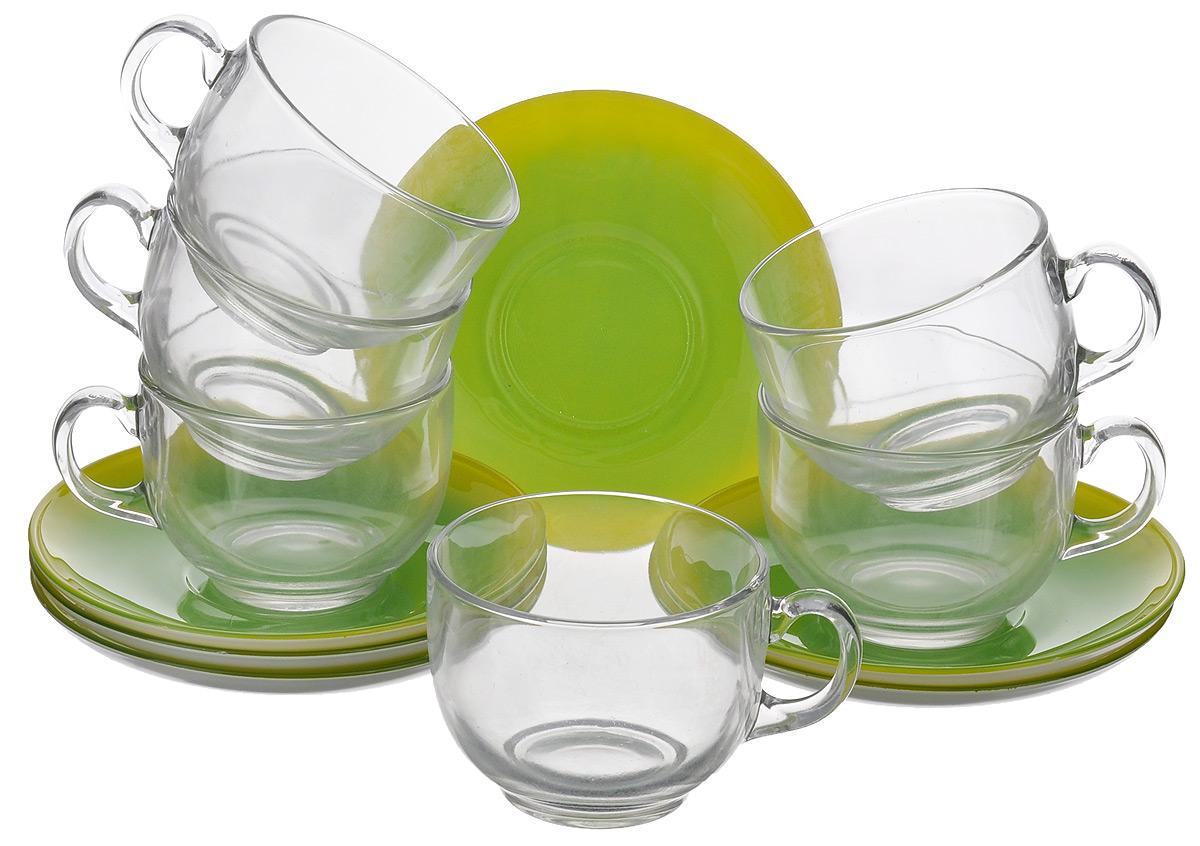 Набор чайный Luminarc Fizz Mint, 12 предметовH0277Чайный набор Luminarc Fizz Mint состоит из 6 чашек и 6 блюдец. Изделия выполнены из высококачественного ударопрочного стекла, имеют яркий дизайн и классическую форму. Посуда отличается прочностью, гигиеничностью и долгим сроком службы, она устойчива к появлению царапин и резким перепадам температур. Такой набор прекрасно подойдет как для повседневного использования, так и для праздников или особенных случаев. Чайный набор Luminarc Fizz Mint - это не только яркий и полезный подарок для родных и близких, это также великолепное дизайнерское решение для вашей кухни или столовой. Изделия можно мыть в посудомоечной машине и использовать в СВЧ-печи. Объем чашки: 220 мл. Диаметр чашки (по верхнему краю): 8 см. Высота чашки: 6 см. Диаметр блюдца: 14 см. Высота блюдца: 2 см.