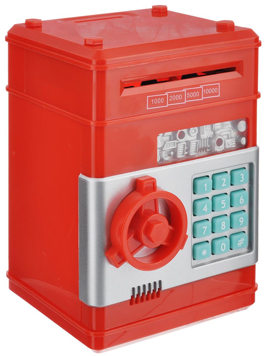 Копилка Эврика Сейф, цвет: красный. 9492694926Оригинальная копилка, выполненная из пластика, работает как настоящий сейф. Копилка затягивает купюры, имеет электромагнитную защелку и кодовый доступ. Чтобы ее открыть, нужно ввести 4- значный цифровой пароль (настоящий пароль 0000), прокрутить ключ и открыть дверь. Когда дверь открывается или закрывается, горит лампочка и воспроизводится скрипучий звук. Сейф с открытой дверцей издает тревожные сигналы примерно раз в 10 секунд. С внутренней стороны дверцы есть переключатель Голос - Музыка. Используйте его для выбора желаемого режима. Пароль можно сменить. Для этого введите пароль 0000, откройте крышку, удерживайте кнопку * (при этом одновременно загорится лампочка), в течение 15 секунд введите новый пароль, нажмите кнопку # (лампочка перестанет гореть), отпустите кнопку * и закройте дверь. Сейф оснащен отверстием для монет. Внутри можно хранить не только деньги, но и другие ценные вещи. Работает от 3 батареек типа АА (в...