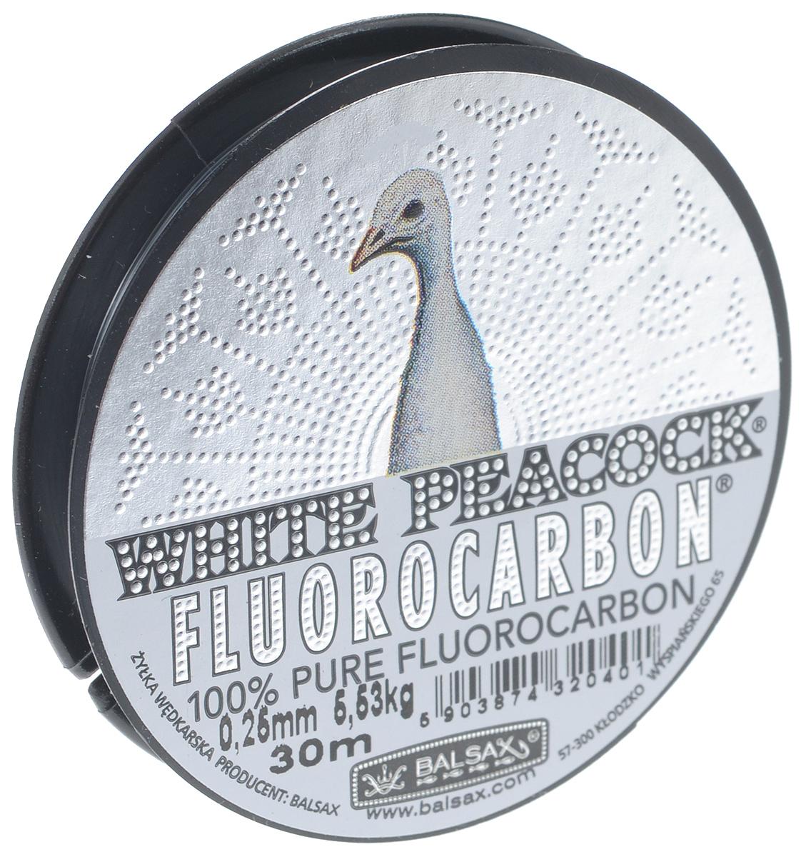 Леска Balsax White Peacock Fluorocarbon, сечение 0,25 мм, длина 30 м26769Леска зимняя Balsax White Peacock Fluorocarbon выполнена из флюорокарбона, благодаря которому она становится абсолютно невидимой в воде. Обычные лески отражают световые лучи, поэтому рыбы их обнаруживают. Флюорокарбон имеет приближенный к воде коэффициент преломления, поэтому пропускает сквозь себя свет, не давая отражений. Рыбы не видят флюорокарбон. Многие рыболовы во всем мире используют подобные лески в качестве поводковых, благодаря чему получают лучшие результаты. Флюорокарбон на 50% тяжелее обычных лесок и на 78% тяжелее воды. Понятно, почему этот материал используется для рыболовных лесок, он тонет очень быстро. Флюорокарбон не впитывает воду даже через 100 часов нахождения в ней. Обычные лески впитывают до 10% воды в течение 24 часов, что приводит к потере 5-10% прочности. Флюорокарбон не теряет прочности. Сопротивляемость флюорокарбона к истиранию значительно больше, чем у обычных лесок. Он выдерживает температуры от -40°C до +60°C.