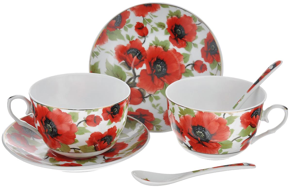 Набор чайный Elan Gallery Маки, 6 предметов730478Чайный набор Elan Gallery Маки состоит из 2 чашек, 2 блюдец и 2 ложек. Изделия, выполненные из высококачественной керамики, имеют элегантный дизайн и классическую круглую форму. Такой набор прекрасно подойдет как для повседневного использования, так и для праздников. Чайный набор Elan Gallery Маки - это не только яркий и полезный подарок для родных и близких, это также великолепное дизайнерское решение для вашей кухни или столовой. Объем чашки: 250 мл. Диаметр чашки (по верхнему краю): 9,5 см. Высота чашки: 6 см. Диаметр блюдца (по верхнему краю): 14 см. Высота блюдца: 2 см. Длина ложки: 13 см.