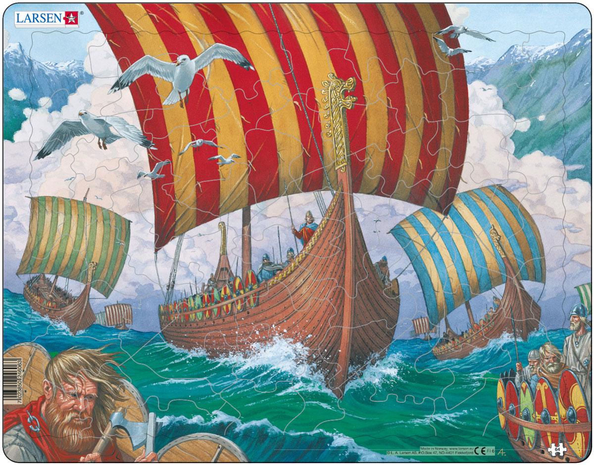 Larsen Пазл Корабли викинговFI6Пазлы Ларсен направлены прежде всего на обучение. Пазл Larsen Корабли викингов в игровой форме знакомит детей с эпохой викингов. На картинке изображены корабли викингов в бушующем море. Выполненные из высококачественного трехслойного картона, они не деформируются и легко берутся в руки. Все пазлы снабжены специальной подложкой, благодаря чему их удобно собирать. Размер готового пазла: 36,5 см х 28,5 см.