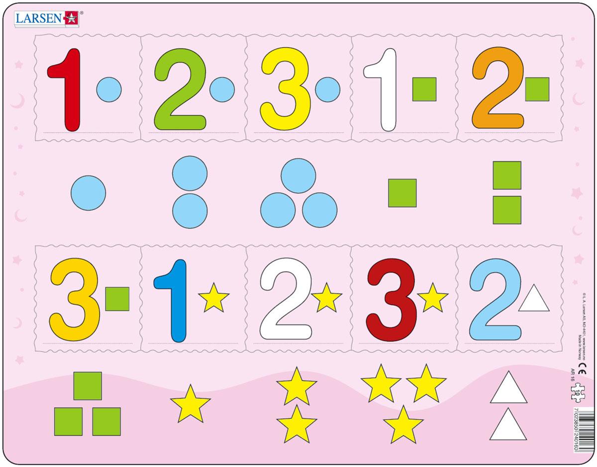 Larsen Пазл Цифры 1-3AR16Пазлы Ларсен направлены прежде всего на обучение. Пазл Larsen Цифры 1-3 прекрасно подойдет для малышей. На картоне отпечатаны четыре различных символа, и детям необходимо правильно разместить числа от 1 до 3 в соответствии с формой и количеством заданных символов. Выполненные из высококачественного трехслойного картона, пазлы не деформируются и легко берутся в руки. Все пазлы снабжены специальной подложкой, благодаря чему их удобно собирать. Размер готового пазла: 36,5 см х 28,5 см.