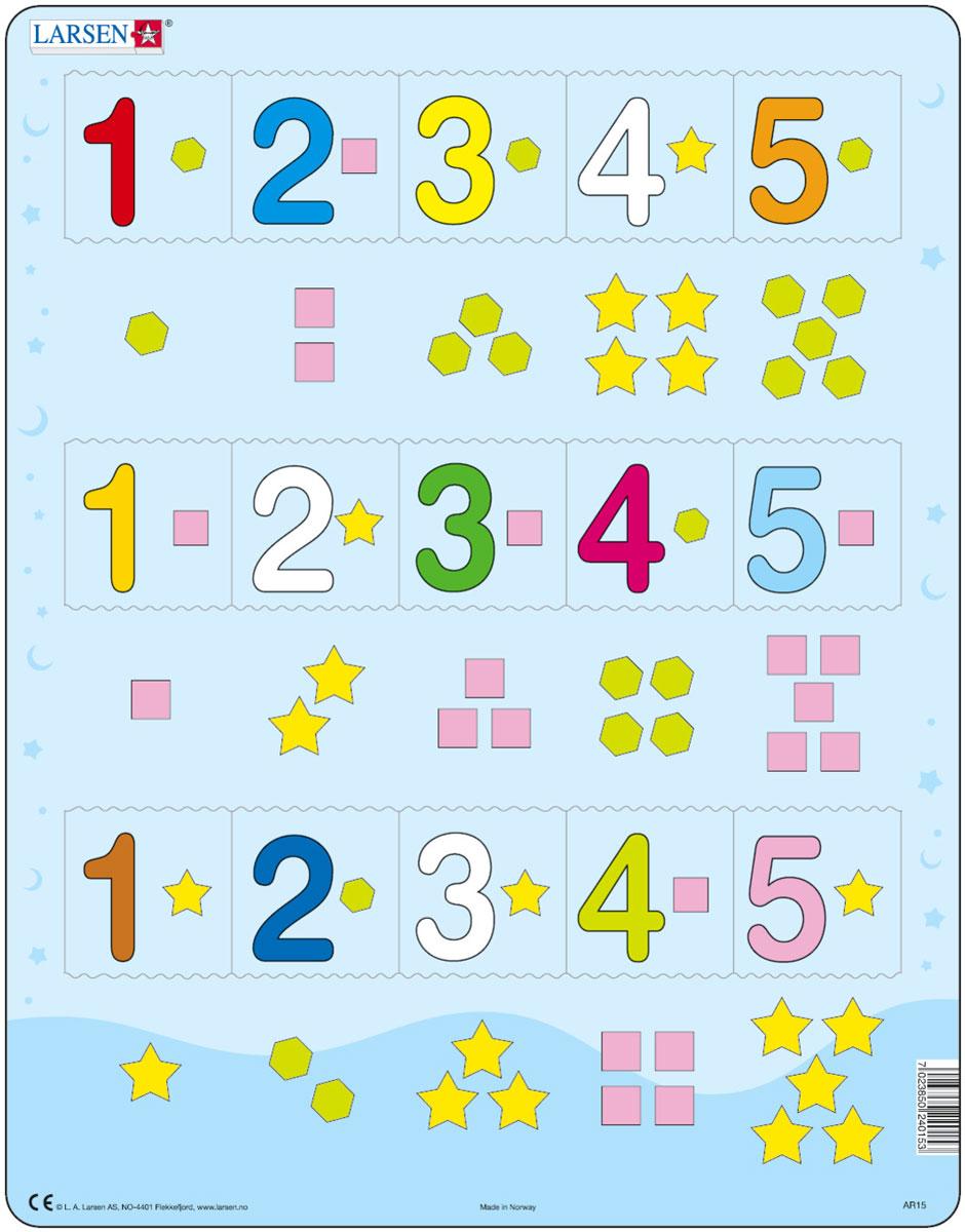 Larsen Пазл Цифры 1-5AR15Пазлы Ларсен направлены прежде всего на обучение. Пазл Larsen Цифры 1-5 предназначен для малышей. На картоне отпечатаны пять различных символов, и детям необходимо правильно разместить числа от 1 до 5 в соответствии с формой и количеством заданных символов. Выполненные из высококачественного трехслойного картона, пазлы не деформируются и легко берутся в руки. Все пазлы снабжены специальной подложкой, благодаря чему их удобно собирать. Размер готового пазла: 36,5 см х 28,5 см.