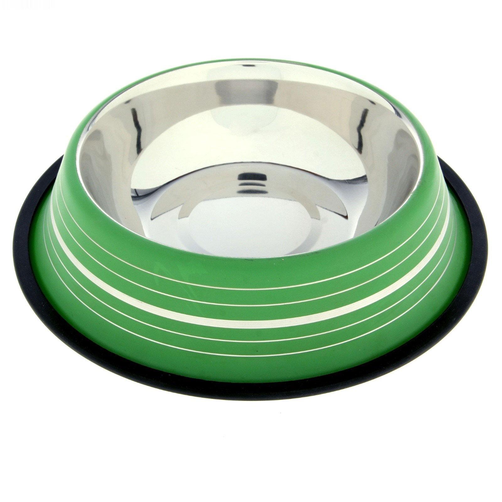 Миска для животных, VM-2510 (D), цвет: зеленый, 900 мл3053_зеленыйМиска изготовлена из нержавеющей стали и предназначена для корма и воды. Она порадует удобством использования как самих животных, так и их хозяев. Необычный дизайн придаст вещи вашего питомца индивидуальность и удовлетворит вкус самых взыскательных зоовладельцев. Изделие снабжено нескользящим дном, устойчивым на любой поверхности, для комфортного приёма пищи животным. Объем: 900 мл. Диаметр миски (по верхнему краю): 17 см. Диаметр основания: 13,5 см. Высота миски: 5,5 см.