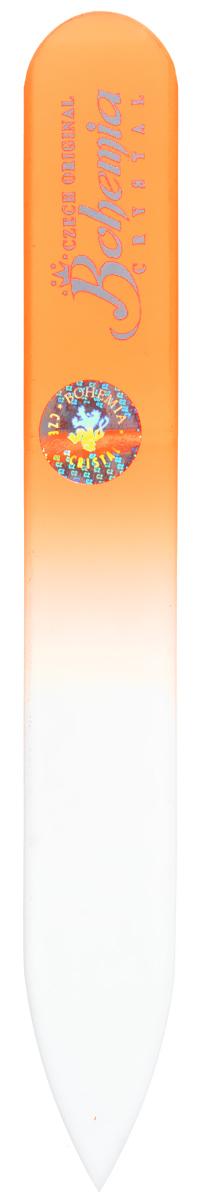 Bohemia Пилочка для ногтей, стеклянная, чехол из мягкого пластика, цвет: оранжевый. 0902233cz-0902в_оранжевыйСтеклянная пилочка Bohemia подходит как для натуральных, так и для искусственных ногтей. Она прекрасно шлифует и придает форму ногтям. После пользования стеклянной пилочкой ногти не слоятся и не ломаются. При уходе за накладными ногтями во время работы ее рекомендуется периодически смачивать в воде. Поверхность стеклянной пилочки не поддается коррозии. К пилочке прилагается замшевый чехол. Материал пилочки: богемское стекло.