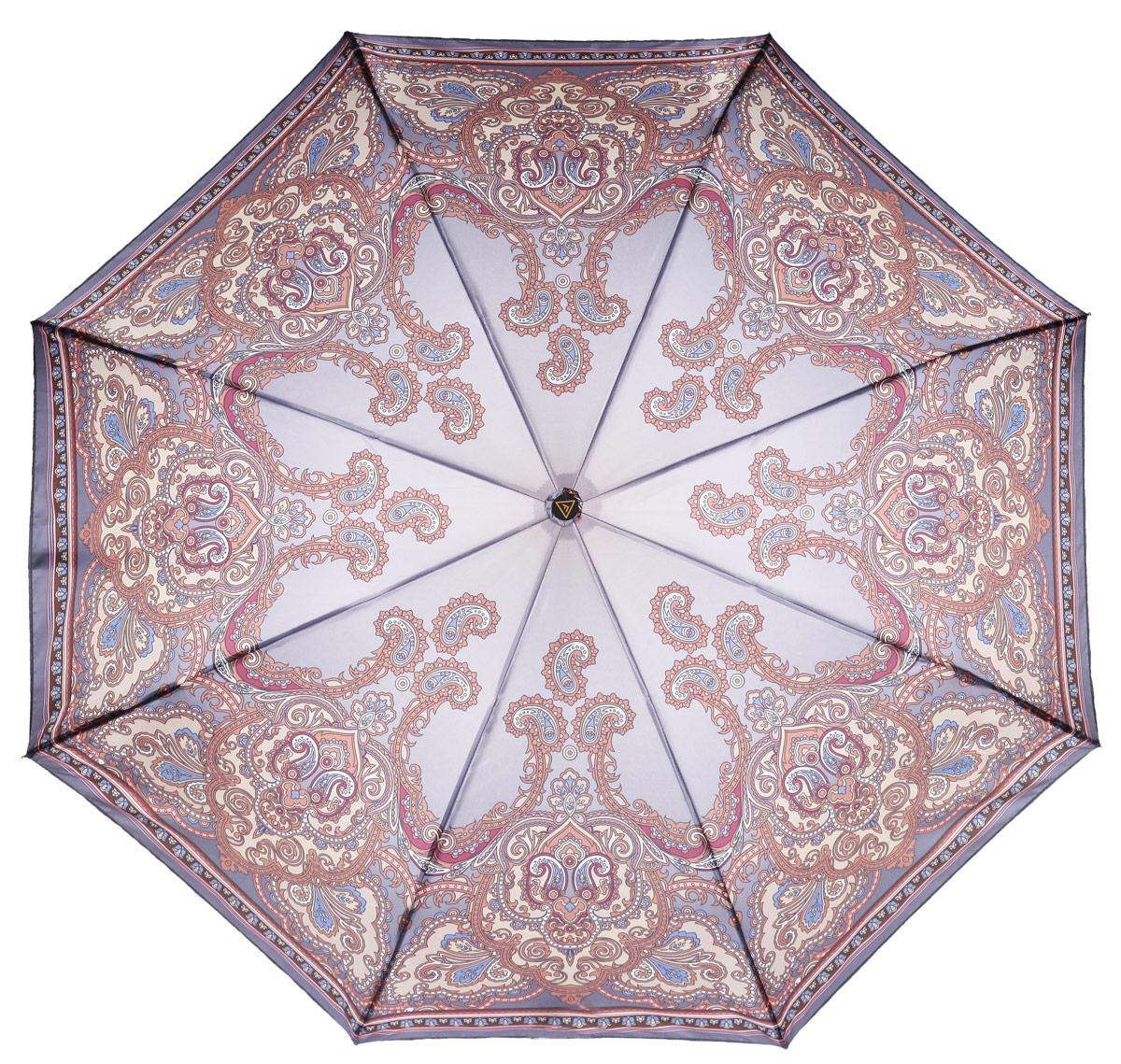 Зонт женский Fabretti, автомат, 3 сложения, цвет: фиолетовый, коричневый. S-15109-3Fabretti S-15109-3Женский зонт Fabretti изготовлен из полиэстера, обработанного водоотталкивающей пропиткой, и металла. Оформлен интересным цветочным принтом. Каркас работает в три сложения, что идеально подойдет для женщин. Ручка разработана с учетом требований эргономики, имеет полиуретановое покрытие. В комплект к зонту прилагается чехол, который закрывается на застежку-молнию. Надежный зонт защитит от дождя и позволит вам оставаться стильной и элегантной даже в ненастную погоду.