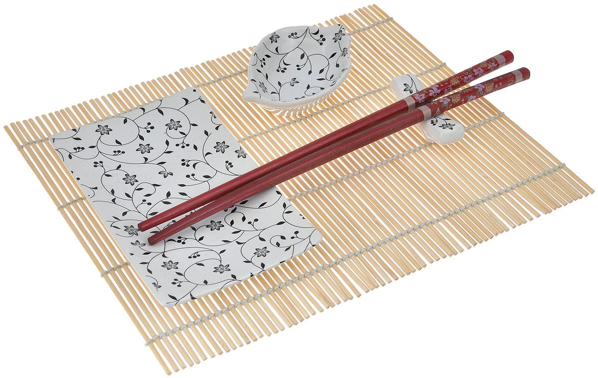 Набор для суши Elan Gallery Узор, цвет: белый, бордовый, 5 предметов940017Набор для суши Elan Gallery Узор, выполненный из керамики, идеален в качестве подарка любителям восточной кухни. В комплекте блюдо для суши, блюдо для соуса или имбиря, коврик, подставка для палочек, набор палочек. Данный набор идеально подойдет для грамотной и красивой сервировки стола. Размер блюда для суши: 19,5 см х 13 см х 3 см. Размер блюда для соуса: 8 см х 6 см х 2,5 см. Длина палочек: 24,5 см. Размер подставки для палочек: 5,5 см х 1,5 см х 2 см. Размер коврика: 19,5 см х 24 см