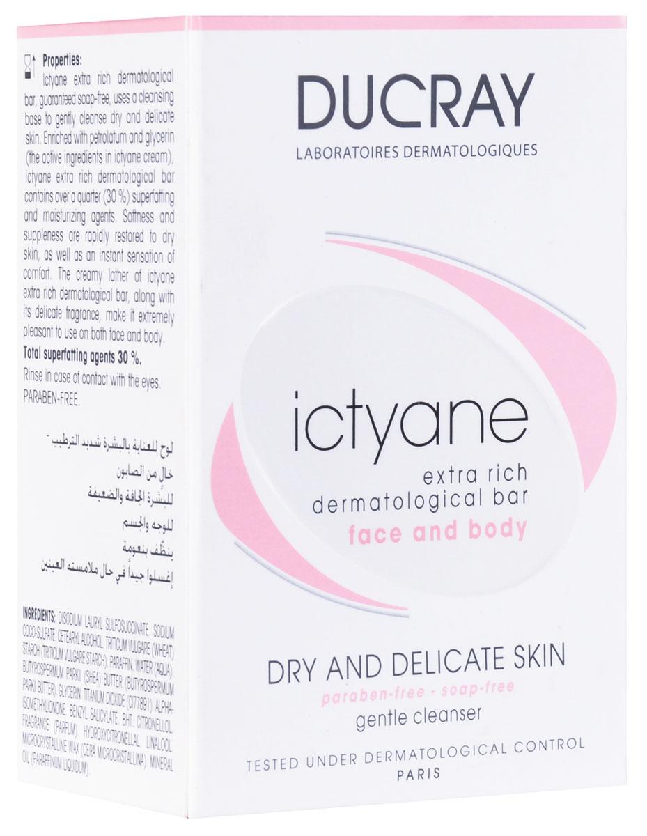 Ducray Мягкое мыло Ictyane для сухой кожи 200грC18608Обладает уникальными свойствами, оказывает комплексное действие на кожу лица и всего тела. Оно качественно очищает кожу, при этом, прекрасно увлажняя ее. Мыло надолго придает ощущение свежести. Уникальный состав мыла насыщает кожу питательными компонентами, которые глубоко проникают с самые глубокие слои кожи. Сверхпитательное очищающее средство не содержит мыла, и поэтому совершенно безвредно для кожи, гипоаллергенно и может использоваться даже для детей. Мягко очищает и увлажняет кожу