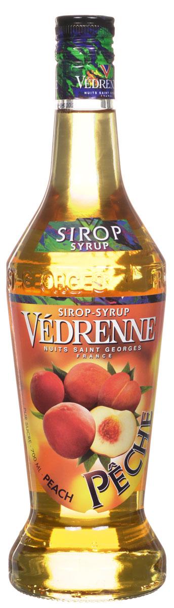 Vedrenne Персик сироп, 0,7 лSVDRPE-070B01Персиковый сироп - производится из отборных плодов персика. Сироп Персик можно добавлять в прохладительные напитки, самые разные коктейли (как алкогольные, так и безалкогольные), холодный чай, лимонад, компот, молоко, мороженое, кофе, десерты. Сиропы изготавливаются на основе натурального растительного сырья, фруктовых и ягодных соков прямого отжима, цитрусовых настоев, а также с использованием очищенной воды без вредных примесей, что позволяет выдержать все ценные и полезные свойства натуральных фруктово-ягодных плодов и трав. В состав сиропов входит только натуральный сахар, произведенный по традиционной технологии из сахарозы. Благодаря высокому содержанию концентрированного фруктового сока, сиропы Vedrenne обладают изысканным ароматом и натуральным вкусом, являются эффективным подсластителем при незначительной калорийности. Они оптимизируют уровень влажности и процесс кристаллизации десертов, хорошо смешиваются с другими ингредиентами и способствуют улучшению вкусовых...