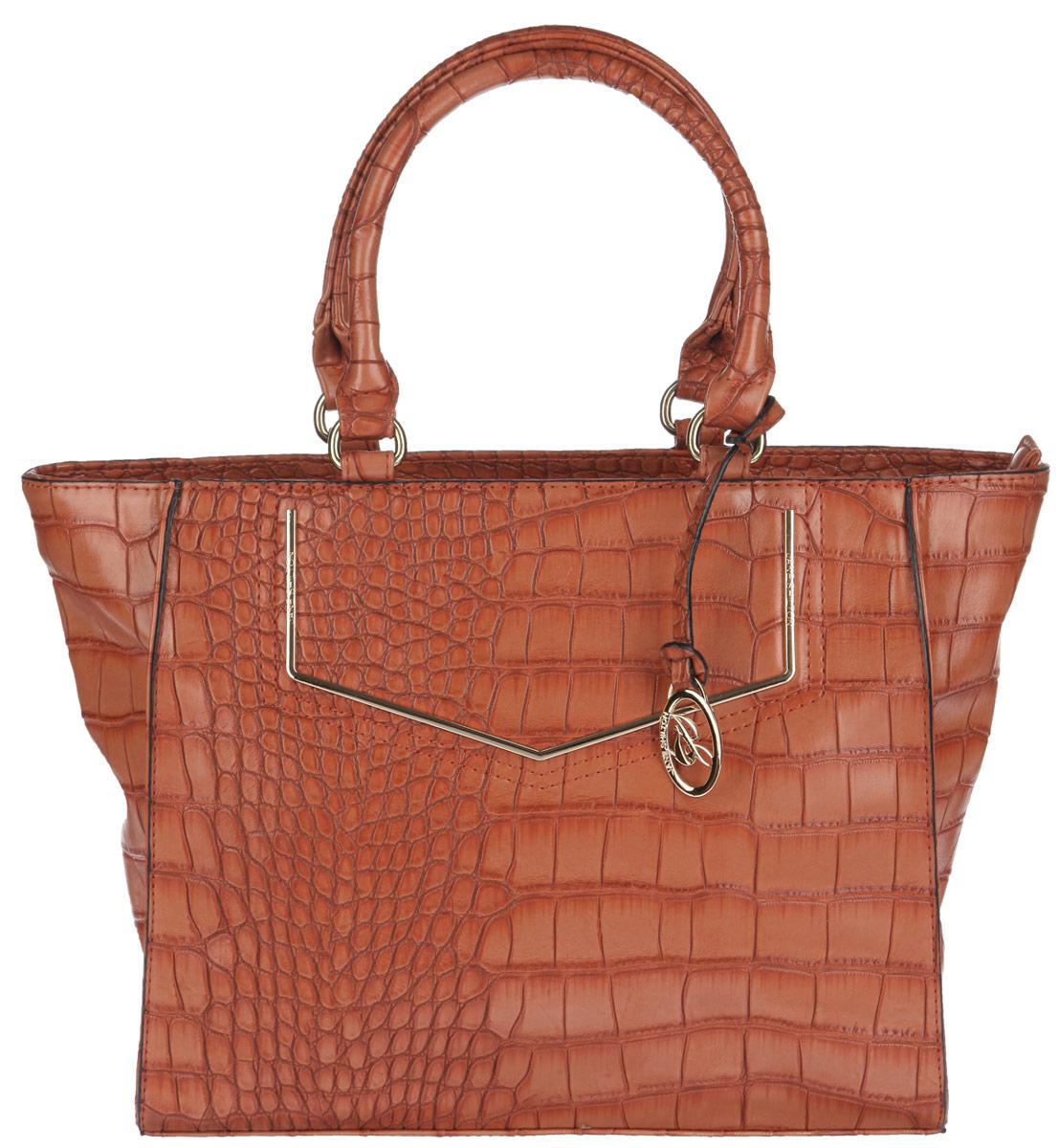 Сумка женская Jane Shilton, цвет: темно-оранжевый. 19401940orangeСтильная женская сумка Jane Shilton выполнена из искусственной кожи с тиснением под рептилию. Изделие имеет одно основное отделение, разделенное пополам карманом-средником на застежке-молнии. Внутри имеется прорезной кармашек на застежке-молнии и открытый пришивной карман. Снаружи на задней стенке располагается прорезной карман на застежке-молнии. Изделие закрывается на застежку-молнию. Модель оснащена двумя удобными ручками. Сумка украшена брелоком с логотипом бренда. Роскошная сумка внесет элегантные нотки в ваш образ и подчеркнет ваше отменное чувство стиля.