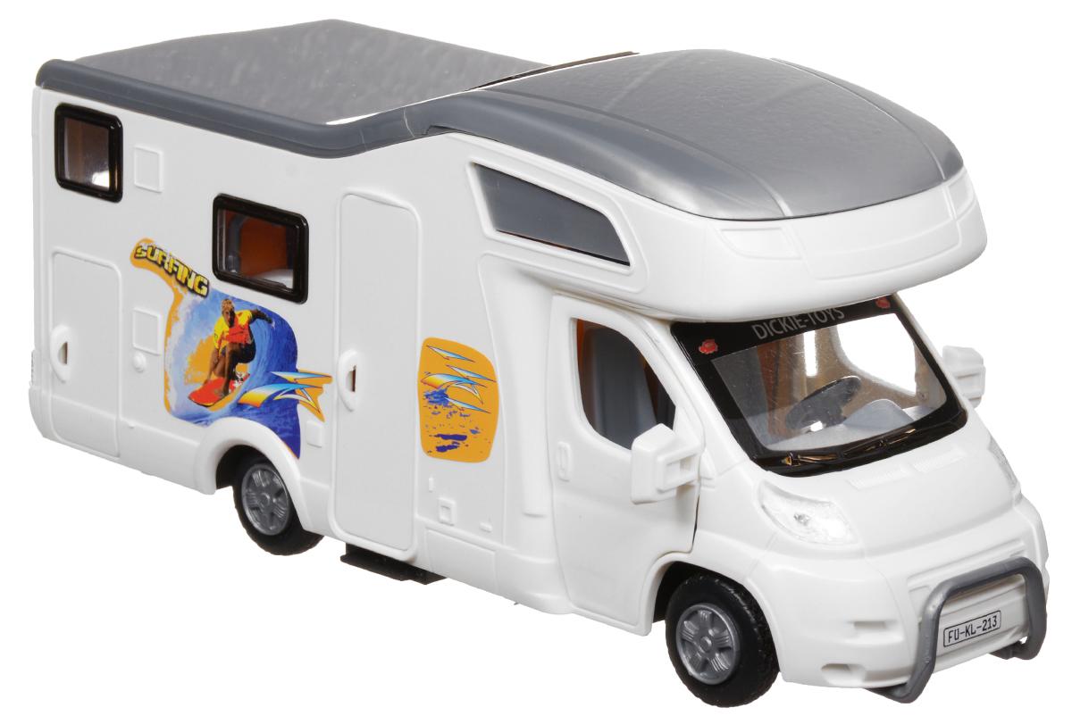 Dickie Toys Трейлер для отдыха цвет белый3314320_белыйМашина Dickie Toys Трейлер для отдыха непременно понравится вашему ребенку. Игрушка выполнена из прочного пластика в виде трейлера для отдыха и путешествий. Передние и боковая двери открываются, крыша снимается. Интерьер салона включает все необходимое для отдыха. Колеса машинки свободно вращаются. С такой машинкой ваш малыш будет часами занят игрой. Порадуйте его таким замечательным подарком!