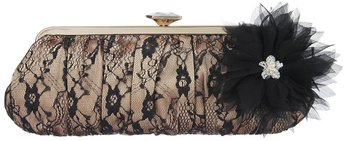 Клатч Fabretti, цвет: золотой, черный. WL8865WL8865-goldЭлегантный вечерний клатч Fabretti выполнен из полиэстера. Клатч оформлен кружевом и оригинальным цветком из полиэстера, который дополнен стразами. Изделие содержит одно отделение, закрывается на рамочный замок, дополненный граненым кристаллом. Клатч оснащен укороченным наплечным ремнем-цепочкой. Клатч Fabretti прекрасно завершит ваш праздничный образ.