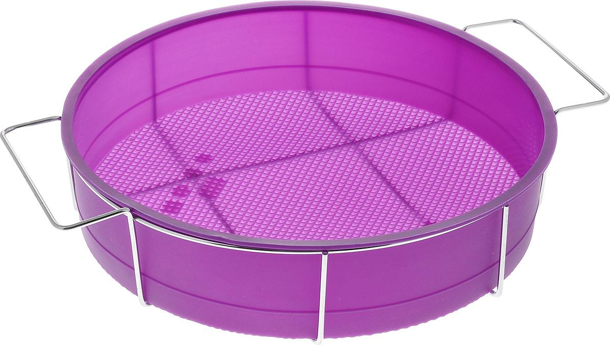 Форма для выпечки Marmiton Круг, силиконовая, на подставке, цвет: фиолетовый, диаметр 26 см16047_фиолетовыйФорма для выпечки Marmiton Круг, выполненная из силикона, предназначена для приготовления выпечки, пудинга, запеканок и желе. Изделие не взаимодействует с продуктами питания и не впитывает запахи, как при нагревании, так и при заморозке. Готовую выпечку или пудинг извлекать из формы легко и просто. С такой формой вы всегда сможете порадовать своих близких оригинальным изделием. Материал устойчив к фруктовым кислотам, может быть использован в духовках и микроволновых печах (выдерживает температуру от 240°C до - 40°C). Можно мыть и сушить в посудомоечной машине. В комплекте металлическая подставка. Диаметр формы: 26 см. Высота формы: 6 см. Размер подставки: 31 см х 25 см х 7,5 см.