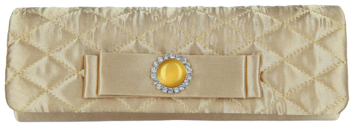 Клатч Fabretti, цвет: золотой. WNC4060WNC4060-goldЭлегантный вечерний клатч Fabretti выполнен из полиэстера. Клатч оформлен кокетливым бантиком, который дополнен оригинальным декоративным элементом с сверкающими кристаллами. Изделие содержит одно отделение и закрывается клапаном на магнитную кнопку. Внутри расположен накладной карман. Клатч оснащен укороченным наплечным ремнем-цепочкой. Клатч Fabretti прекрасно завершит ваш праздничный образ.