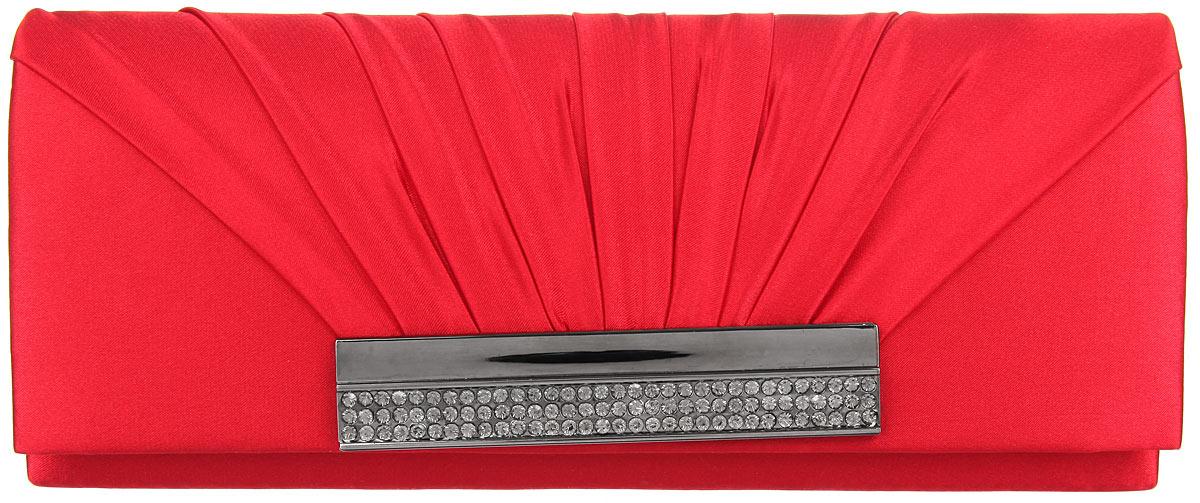 Клатч Fabretti, цвет: красный. W12072W12072-redЭлегантный вечерний клатч Fabretti выполнен из полиэстера. Клатч оформлен оригинальным элементом из стали, который дополнен сверкающими стразами. Изделие содержит одно отделение и закрывается клапаном на магнитную кнопку. Внутри расположен накладной карман. Клатч оснащен укороченным наплечным ремнем-цепочкой. Клатч Fabretti прекрасно завершит ваш праздничный образ.