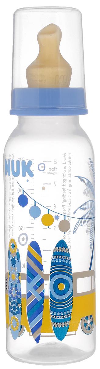 NUK Бутылочка для кормления с латексной соской от 0 до 6 месяцев 240 мл цвет голубой синий