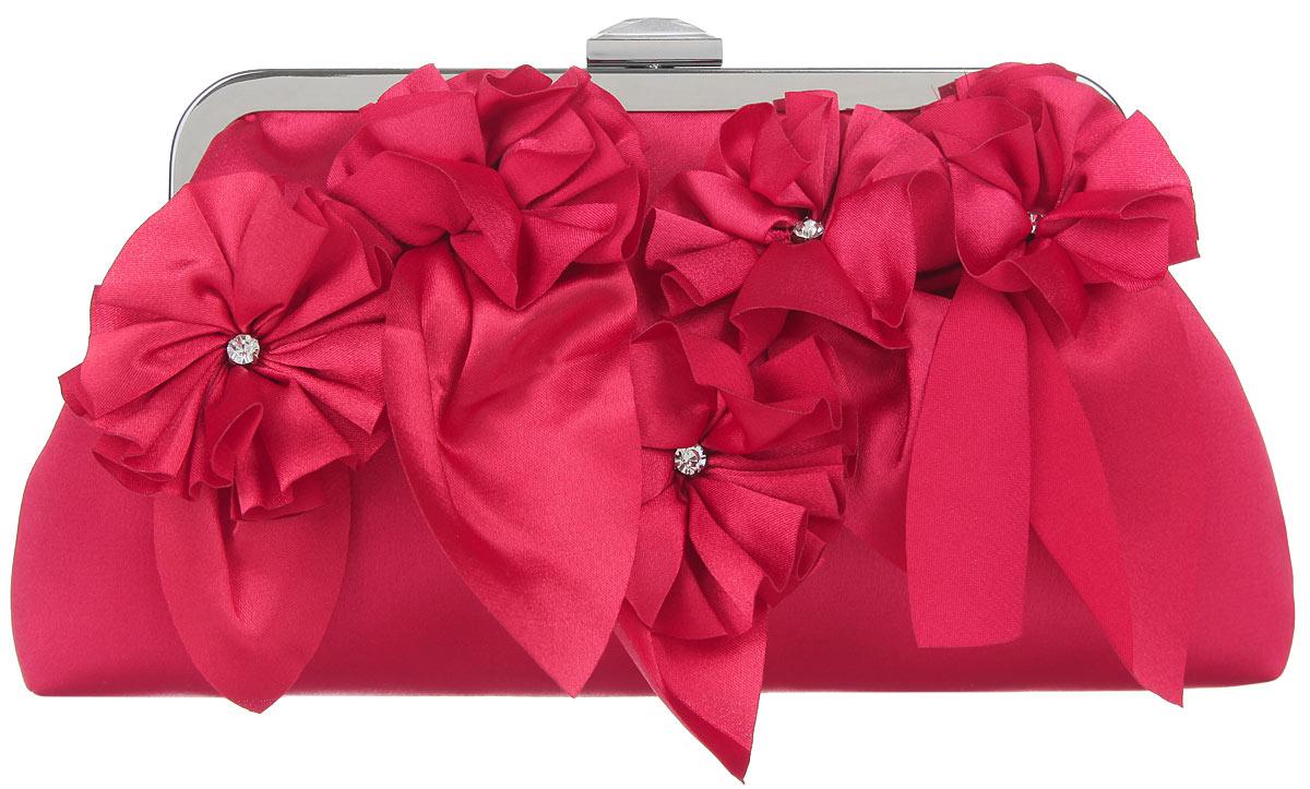 Клатч Fabretti, цвет: красный. WL8498WL8498-redЭлегантный вечерний клатч Fabretti выполнен из полиэстера. Клатч оформлен пятью оригинальными цветками из полиэстера, посередине украшенными стразами. Изделие содержит одно отделение, закрывается на рамочный замок, который дополнен граненым кристаллом. Клатч оснащен укороченным наплечным ремнем-цепочкой. Клатч Fabretti прекрасно завершит ваш праздничный образ.