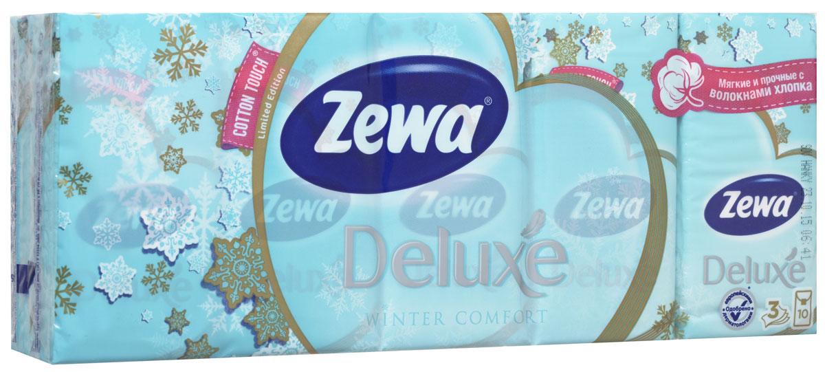 Zewa Бумажные платочки Deluxe, трехлойные, 10 х 10 шт14080853Трехслойные носовые платочки Zewa Deluxe подходят для детей и взрослых. Изготовлены из 100% целлюлозы и волокон хлопка с изображением снежинок. Они обладают уникальными свойствами, так как всегда остаются мягкими на ощупь, прочными и отлично впитывающими влагу и могут быть пригодными в любой ситуации. Платочки не содержат флуоресцентных добавок, парфюмерных отдушек и красителей. Не раздражают кожу. Удобная небольшая упаковка позволяет носить платочки в кармане. Без аромата. По 10 платков в индивидуальной упаковке. Проверено дерматологами. Товар сертифицирован.