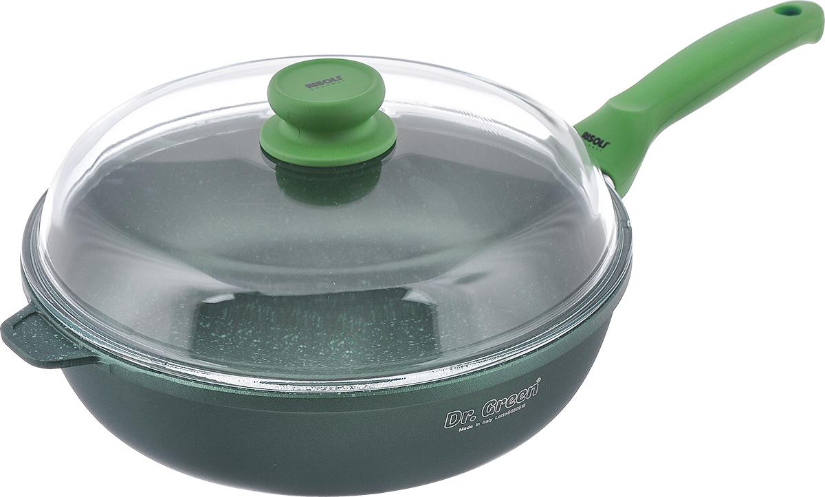Сковорода Risoli Dr. Green с крышкой, с антипригарным покрытием. Диаметр 28 см00105DR/28GSСковорода Risoli Dr. Green изготовлена из литого алюминия с антипригарным гранитным покрытием. Предназначено для приготовления здоровой и диетической пищи без добавления масла. Покрытие обладает повышенной износостойкостью, идеально подходит для интенсивного ежедневного использования, особенно хороша для тушения. Изделие оснащено удобной бакелитовой ручкой с покрытием Soft- touch и крышкой из жаропрочного стекла. Подходит для газовых и электрических плит. Не подходит для индукционных плит. Диаметр (по верхнему краю): 28 см. Высота стенки: 8 см. Толщина стенки: 7 мм. Толщина дна: 7 мм. Длина ручки: 20 см.