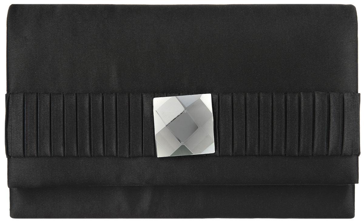 Клатч Fabretti, цвет: черный. WD33033-8WD33033-8-blackЭлегантный вечерний клатч Fabretti выполнен из полиэстера. Клатч оформлен сверкающим граненым кристаллом. Изделие содержит одно отделение и закрывается клапаном на магнитную кнопку. Внутри расположен накладной карман. Клатч оснащен укороченным наплечным ремнем-цепочкой. Клатч Fabretti прекрасно завершит ваш праздничный образ.
