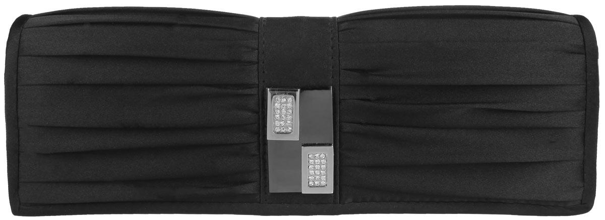 Клатч Fabretti, цвет: черный. W10264W10264-blackЭлегантный вечерний клатч Fabretti выполнен из полиэстера. Клатч оформлен оригинальным элементом из стали, который дополнен сверкающими стразами. Изделие содержит одно отделение и закрывается клапаном на магнитную кнопку. Внутри расположен накладной карман. Клатч оснащен укороченным наплечным ремнем-цепочкой. Клатч Fabretti прекрасно завершит ваш праздничный образ.