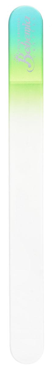 Bohemia Пилочка для ногтей, стеклянная, чехол из замши, цвет: бирюзово-салатовый. 1783
