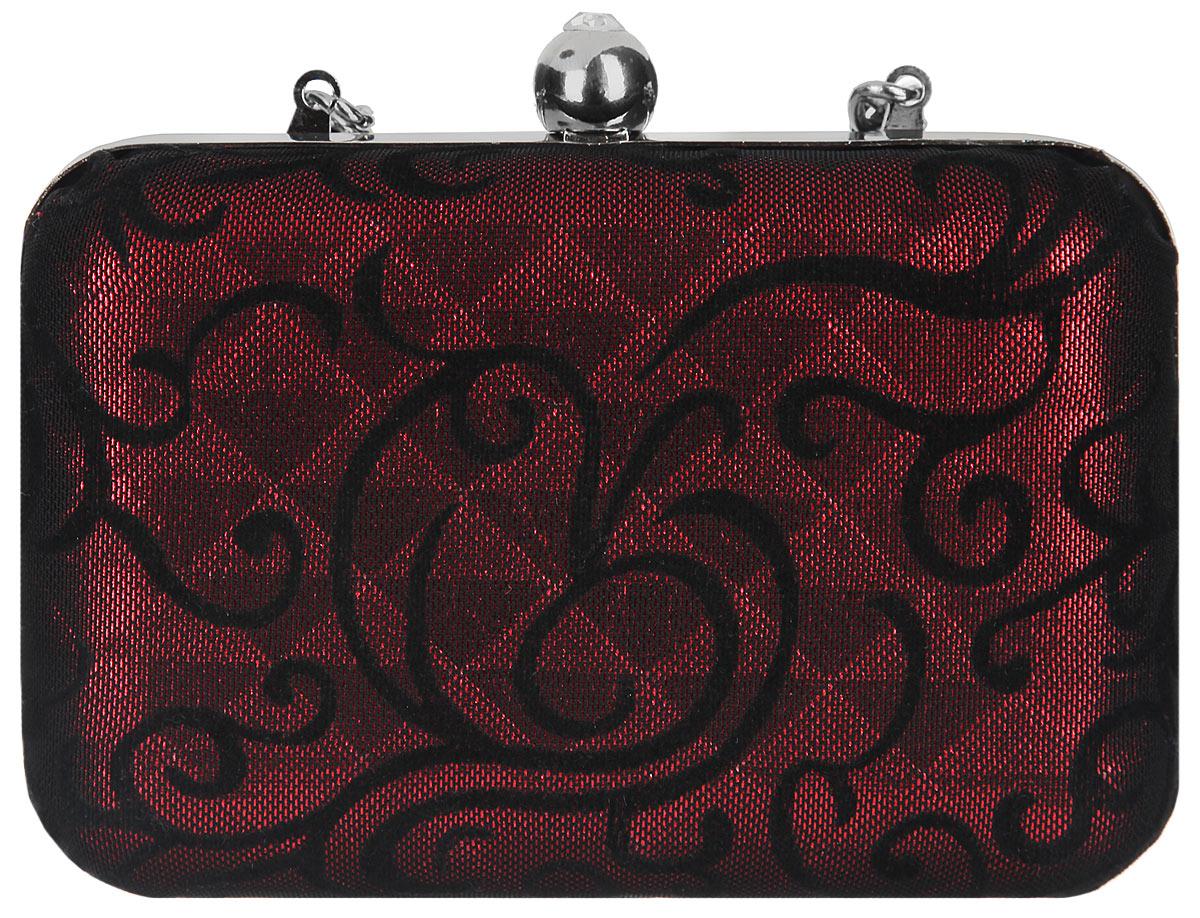 Клатч Fabretti, цвет: красный, черный. 68456845-2-07Элегантный вечерний клатч Fabretti с жесткой конструкцией выполнен из полиэстера и металла. Изделие оформлено оригинальным узором. Клатч содержит одно отделение и закрывается на рамочный замок декорированный кристаллом. Внутри расположено вместительное отделение, в котором размещен накладной карман. Клатч оснащен укороченным ремнем-цепочкой, который позволит носить изделие на запястье. Клатч Fabretti прекрасно завершит ваш праздничный образ.