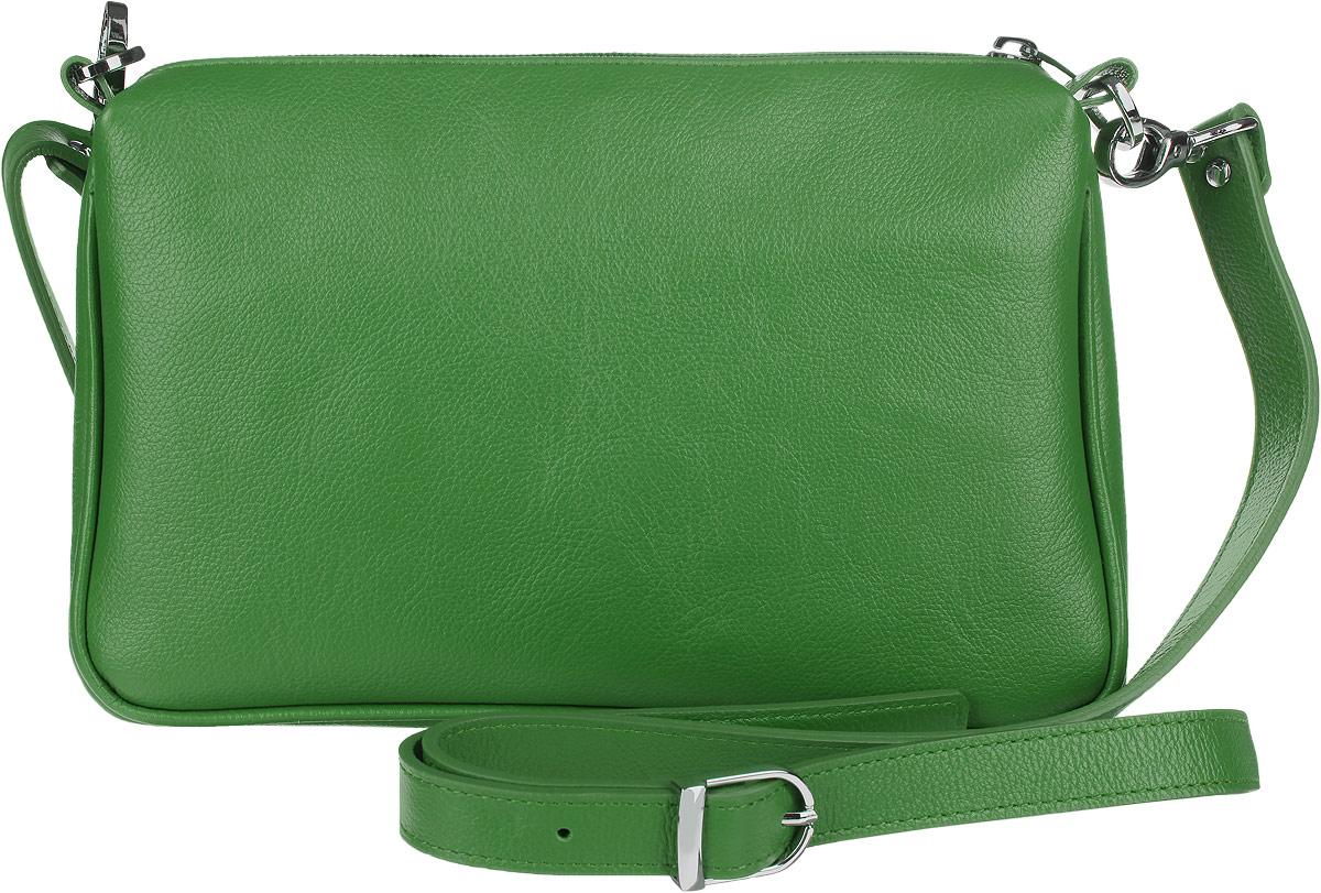 Сумка женская Fabula Every Day, цвет: зеленый. S.124.FPS.124.FPСтильная сумка Fabula Every Day, выполнена из натуральной кожи. Изделие содержит одно основное отделение, которое закрывается на застежку-молнию. Внутри сумки размещены два накладных кармана. Изделие оснащено съемным плечевым ремнем регулируемой длины. Яркий аксессуар позволит вам завершить образ и быть неотразимой.