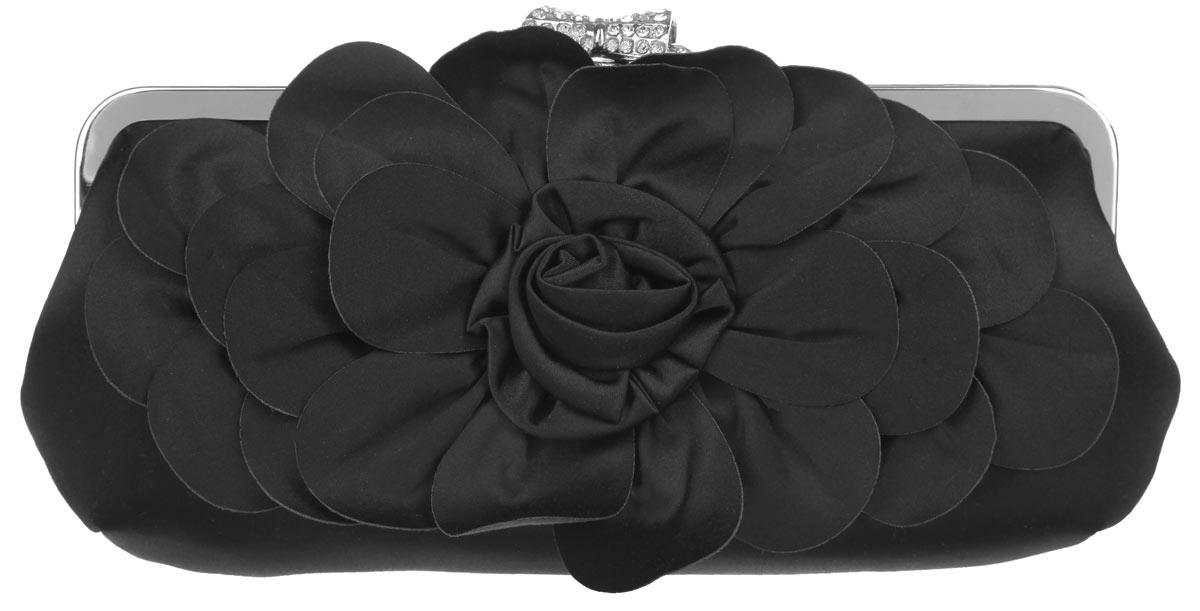 Клатч Fabretti, цвет: черный. WL8650WL8650-blackЭлегантный вечерний клатч Fabretti выполнен из полиэстера. Клатч оформлен кокетливым цветком из полиэстера. Изделие содержит одно отделение и закрывается на рамочный замок, который оформлен в виде бантика и дополнен стразами. Внутри расположен накладной карман. Клатч оснащен укороченным наплечным ремнем-цепочкой. Клатч Fabretti прекрасно завершит ваш праздничный образ.